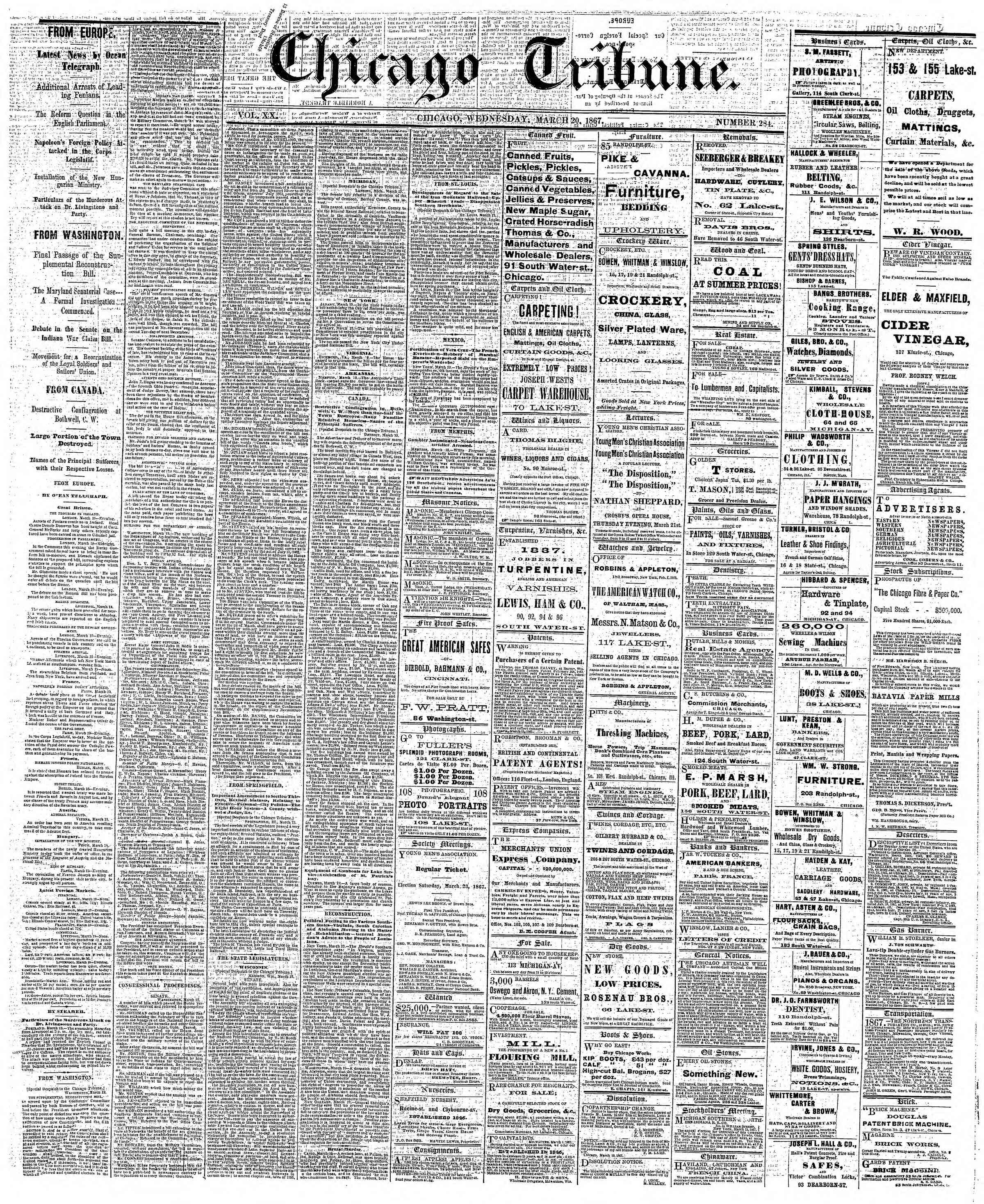 Newspaper of The Chicago Tribune dated March 20, 1867 Page 1