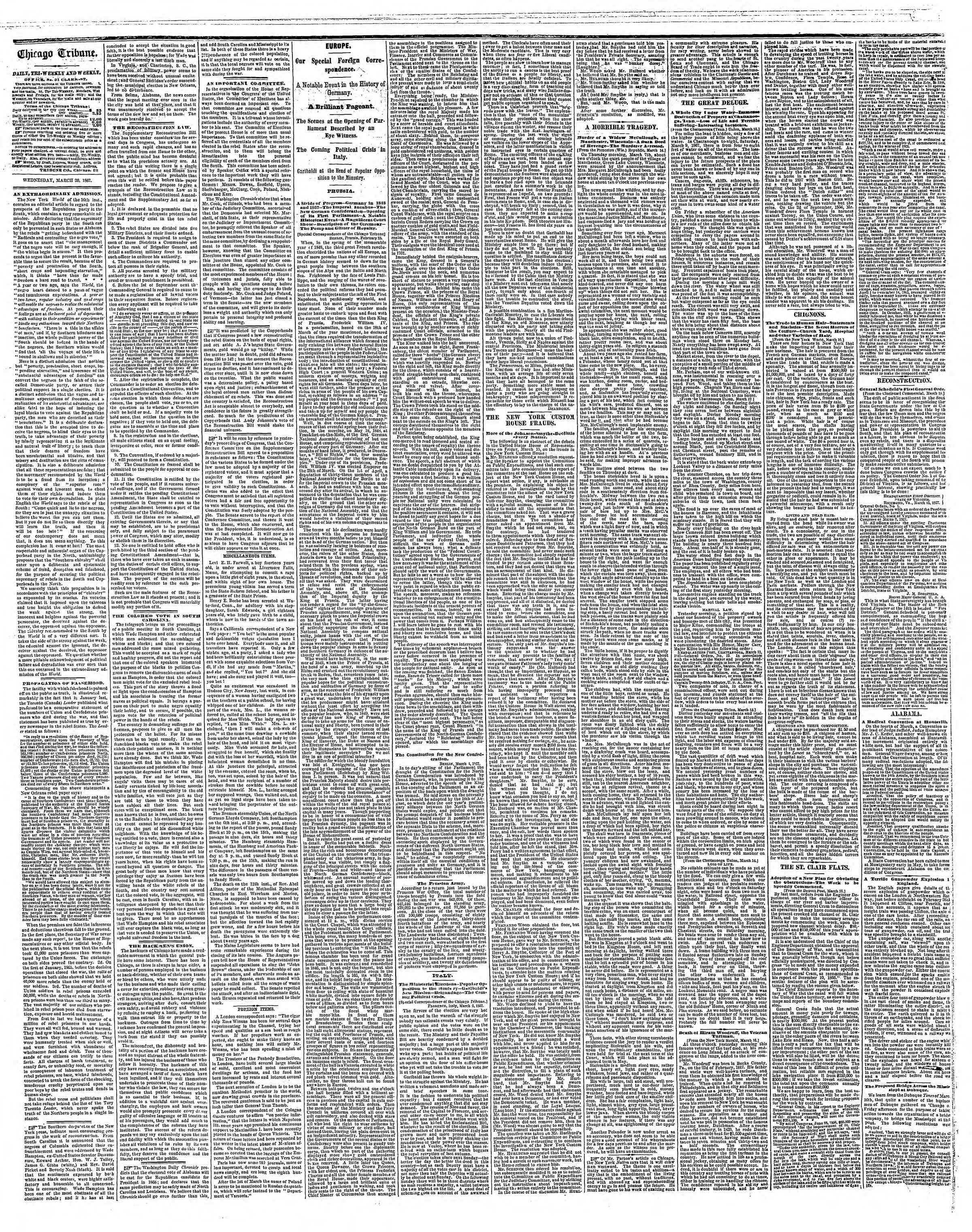 Newspaper of The Chicago Tribune dated March 20, 1867 Page 2