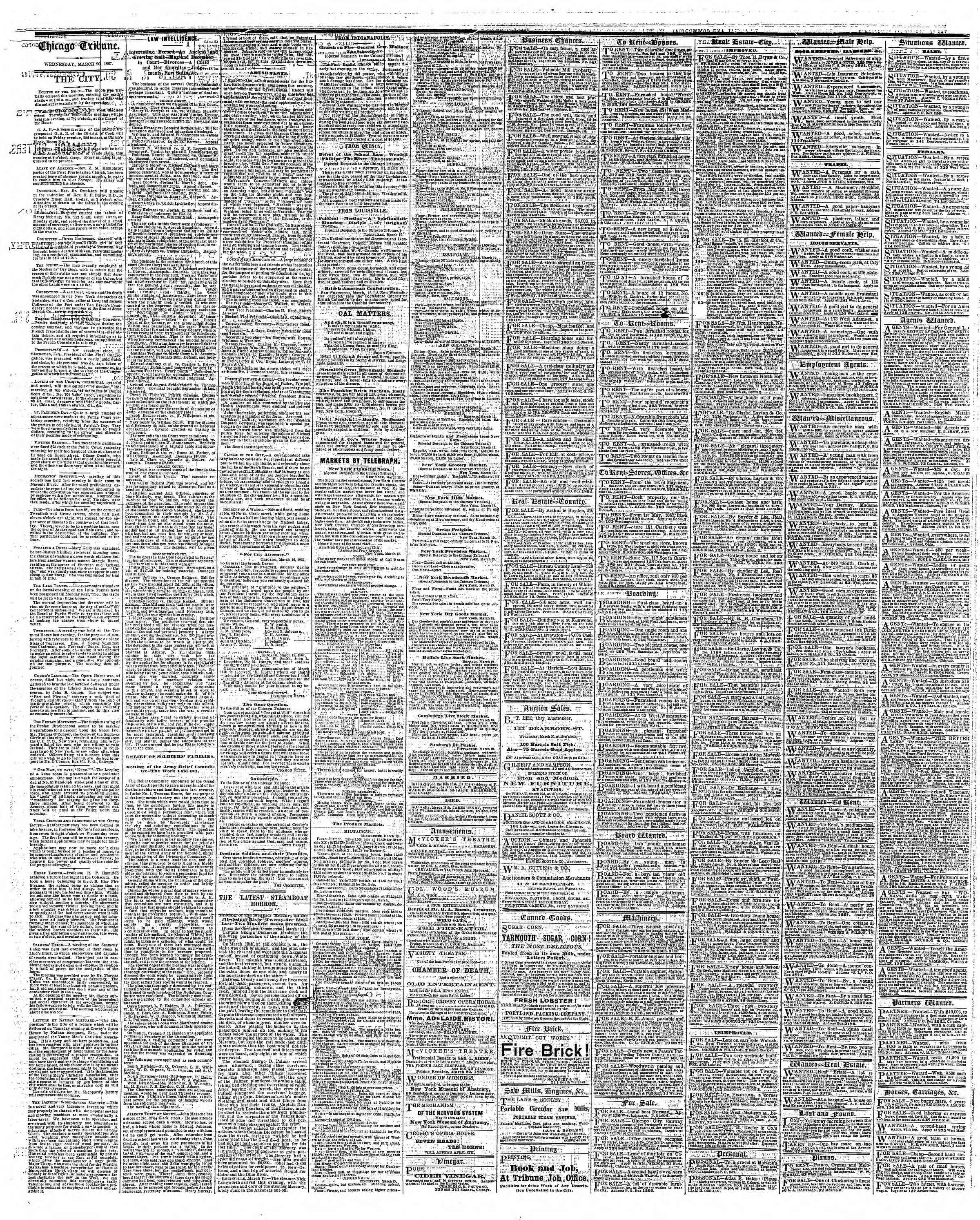 Newspaper of The Chicago Tribune dated March 20, 1867 Page 4