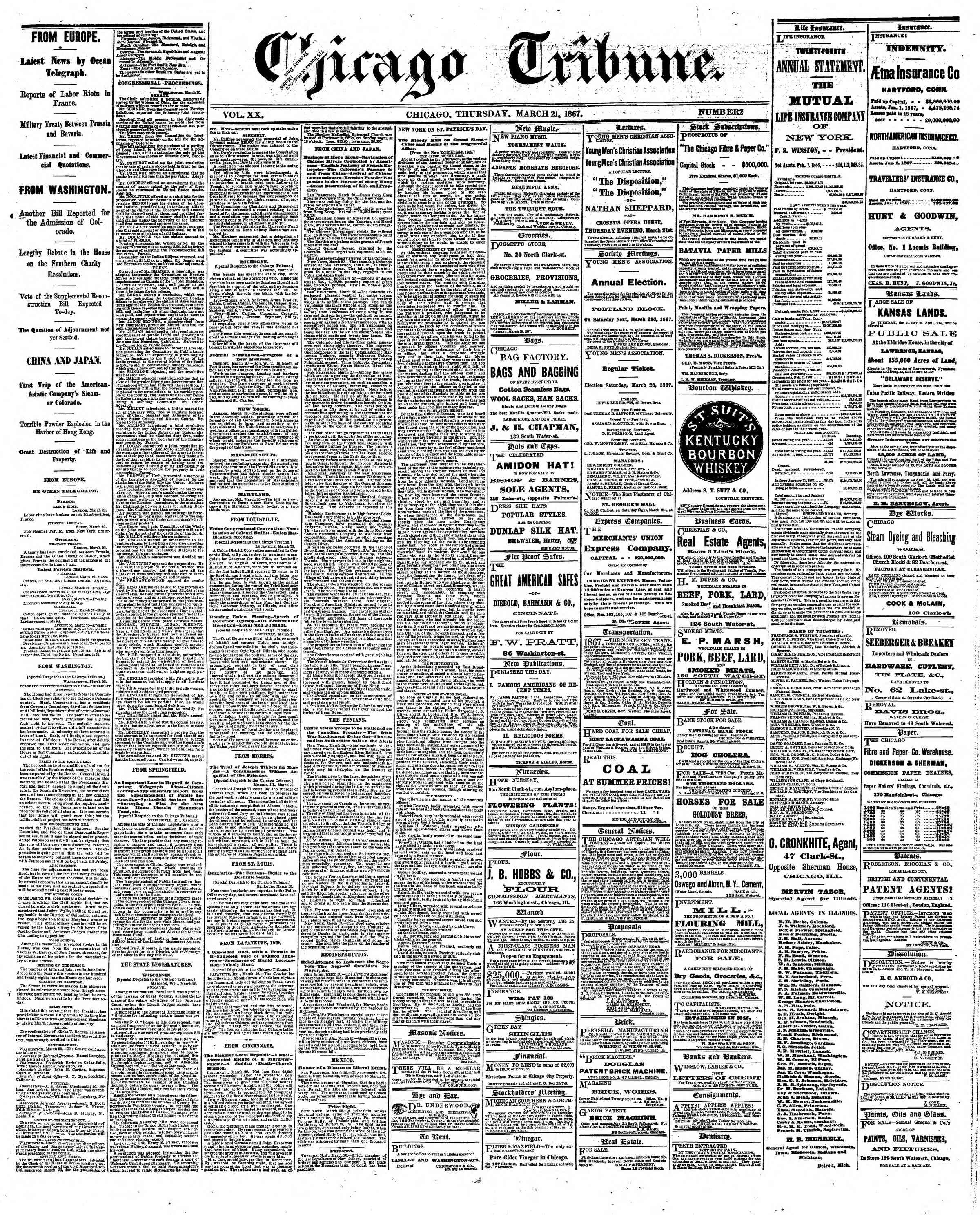 Newspaper of The Chicago Tribune dated March 21, 1867 Page 1
