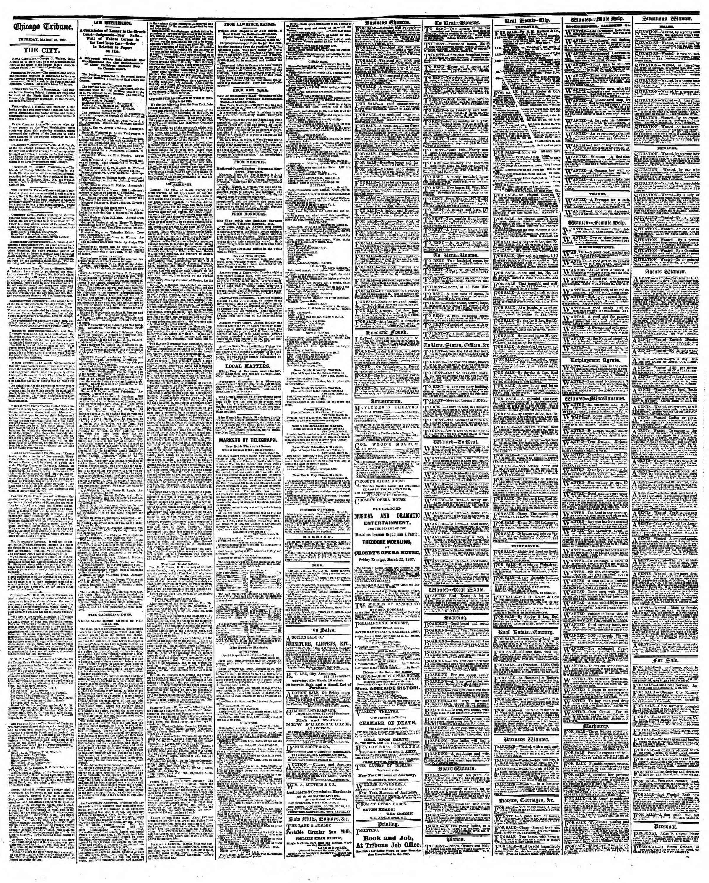 Newspaper of The Chicago Tribune dated March 21, 1867 Page 4