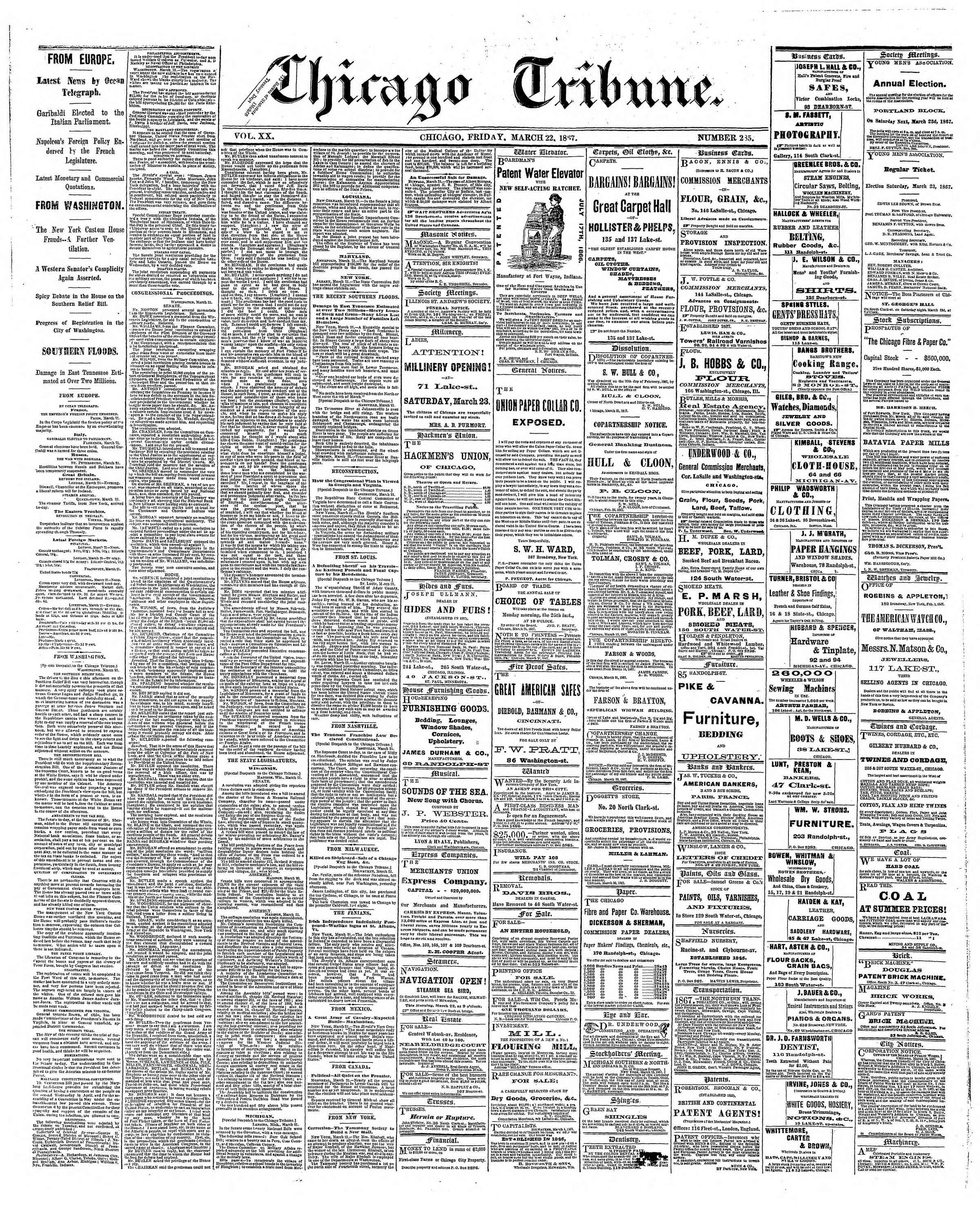 Newspaper of The Chicago Tribune dated March 22, 1867 Page 1