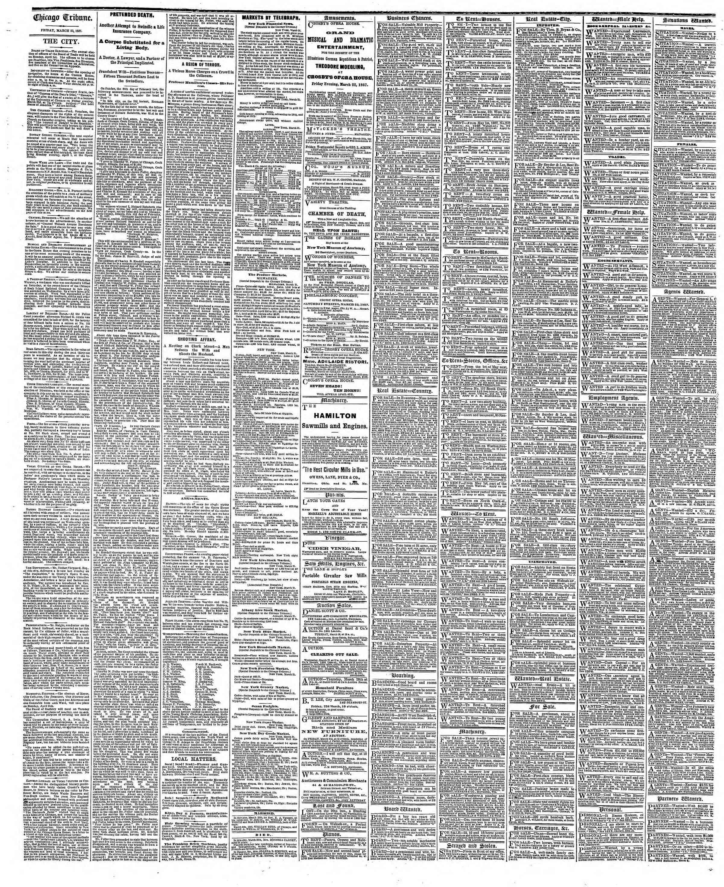 Newspaper of The Chicago Tribune dated March 22, 1867 Page 4
