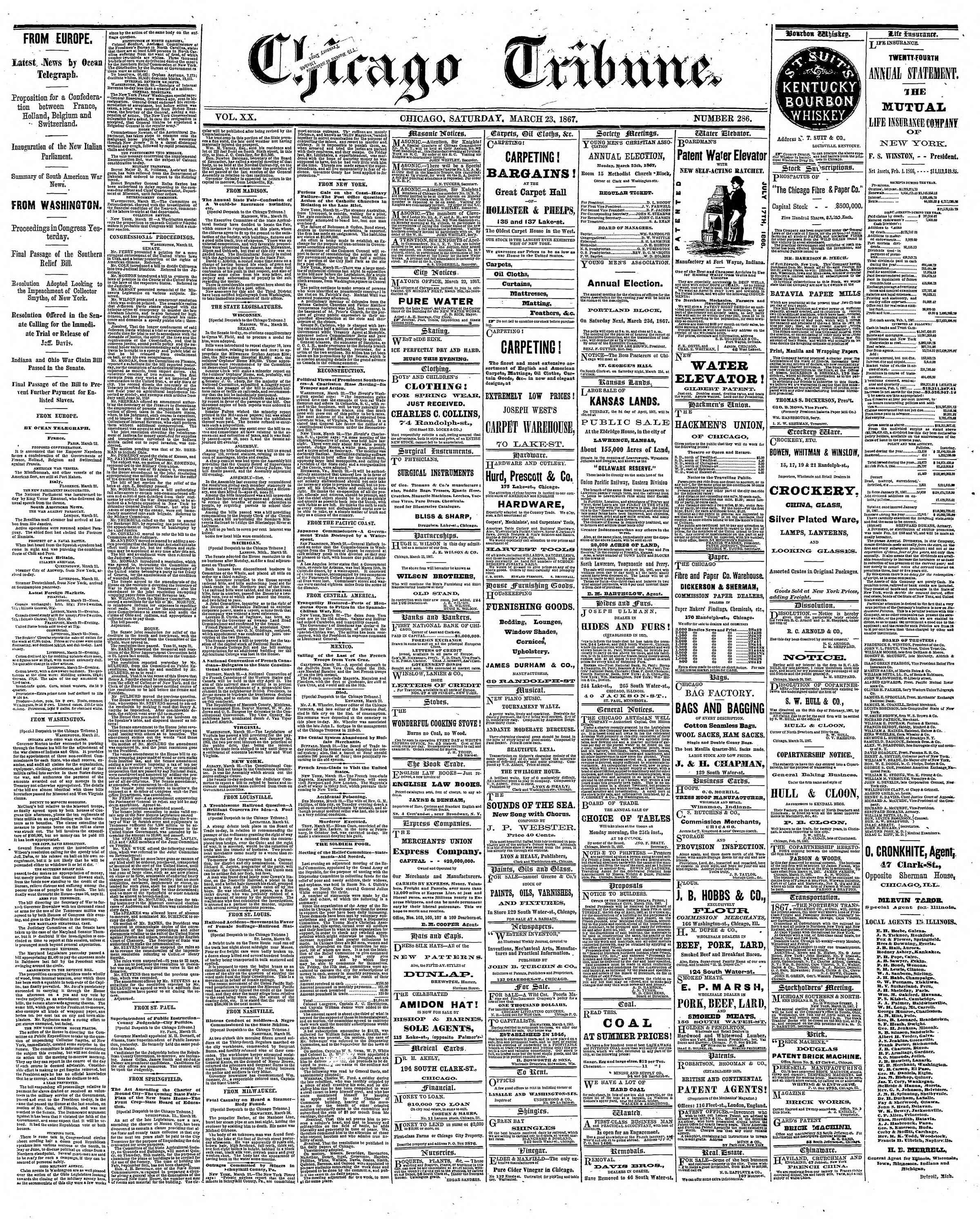 Newspaper of The Chicago Tribune dated March 23, 1867 Page 1