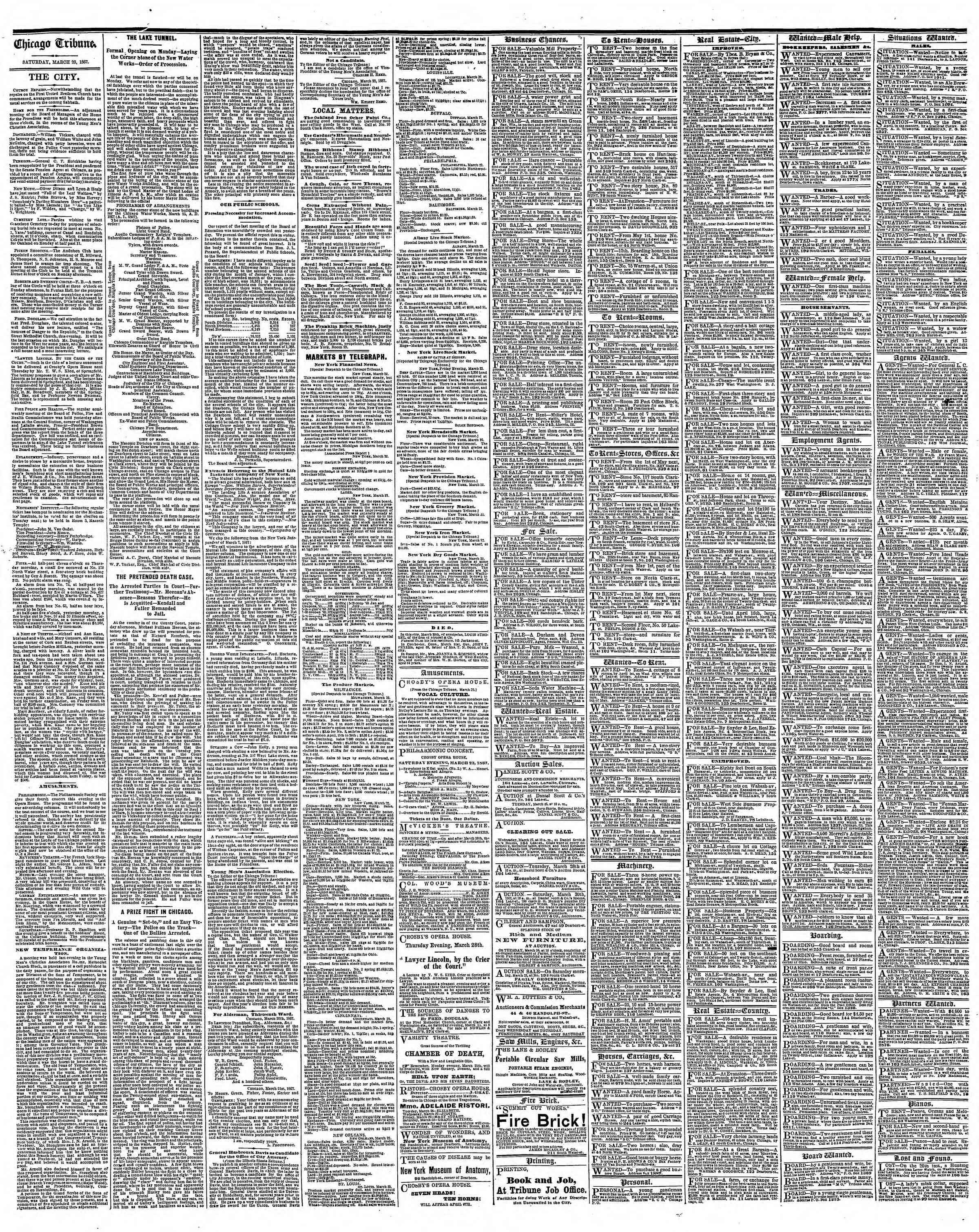 Newspaper of The Chicago Tribune dated March 23, 1867 Page 4