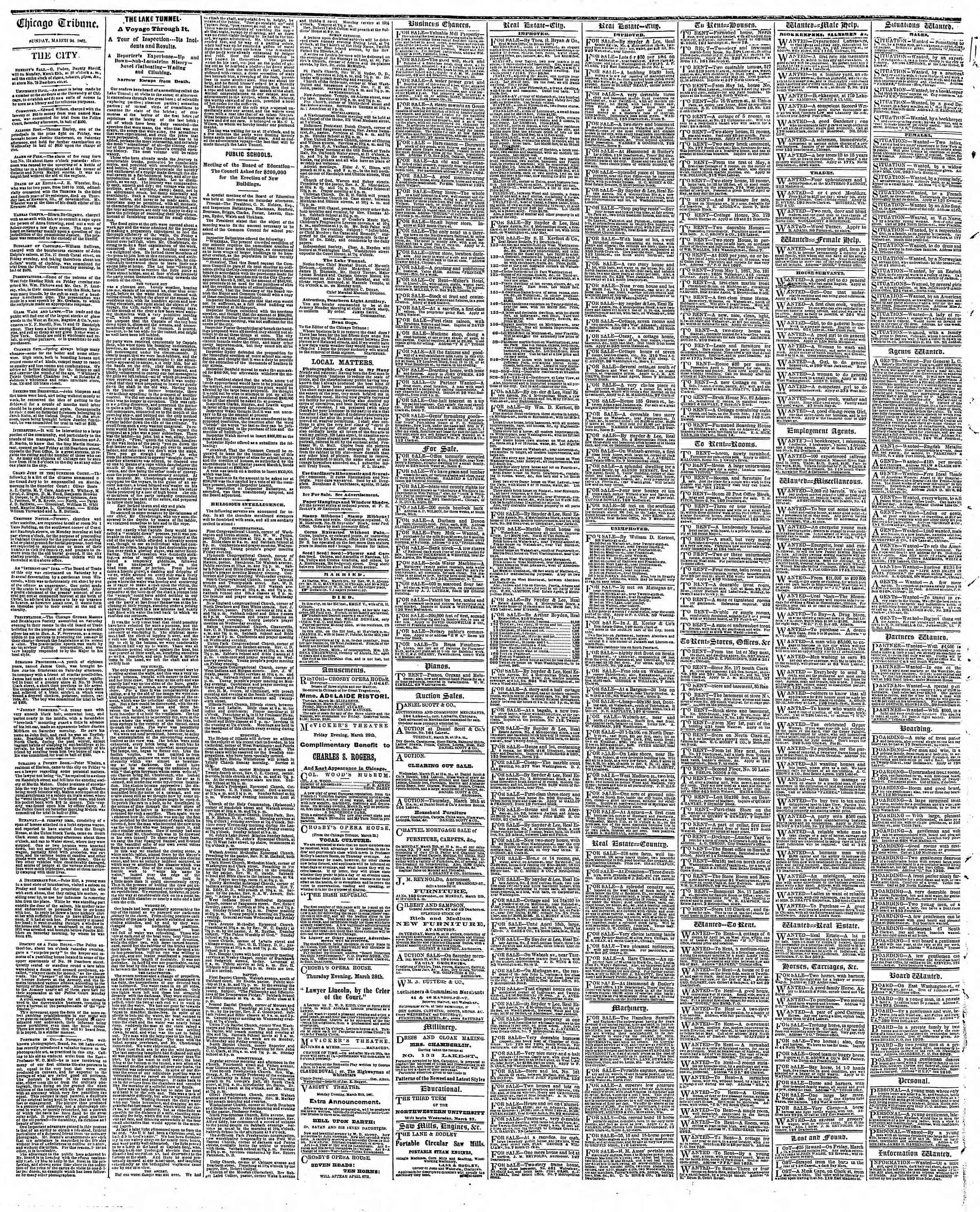 Newspaper of The Chicago Tribune dated March 24, 1867 Page 4