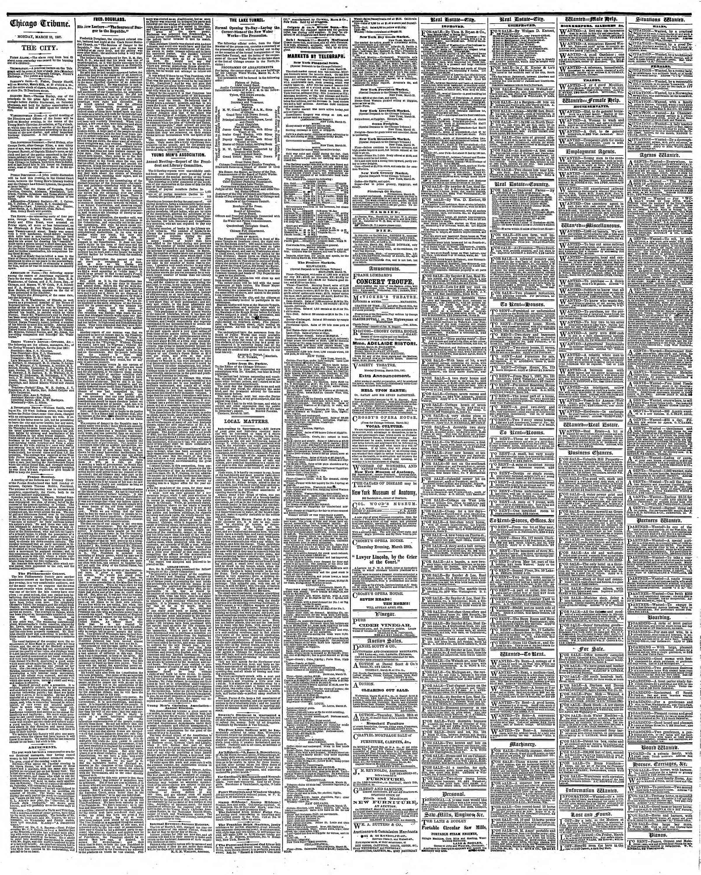 Newspaper of The Chicago Tribune dated March 25, 1867 Page 4