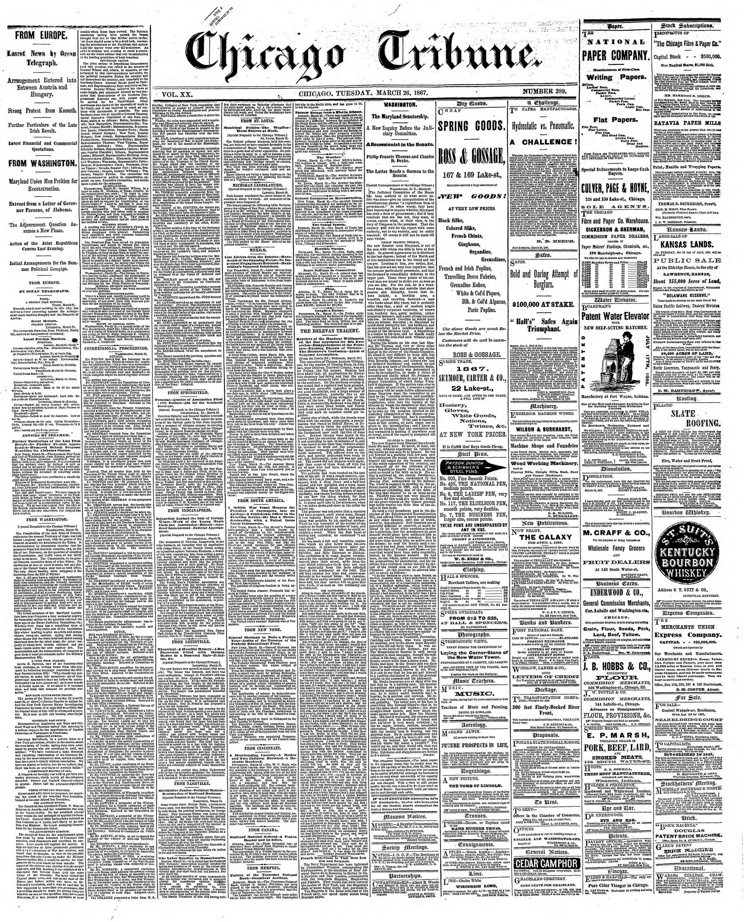 Newspaper of The Chicago Tribune dated March 26, 1867 Page 1