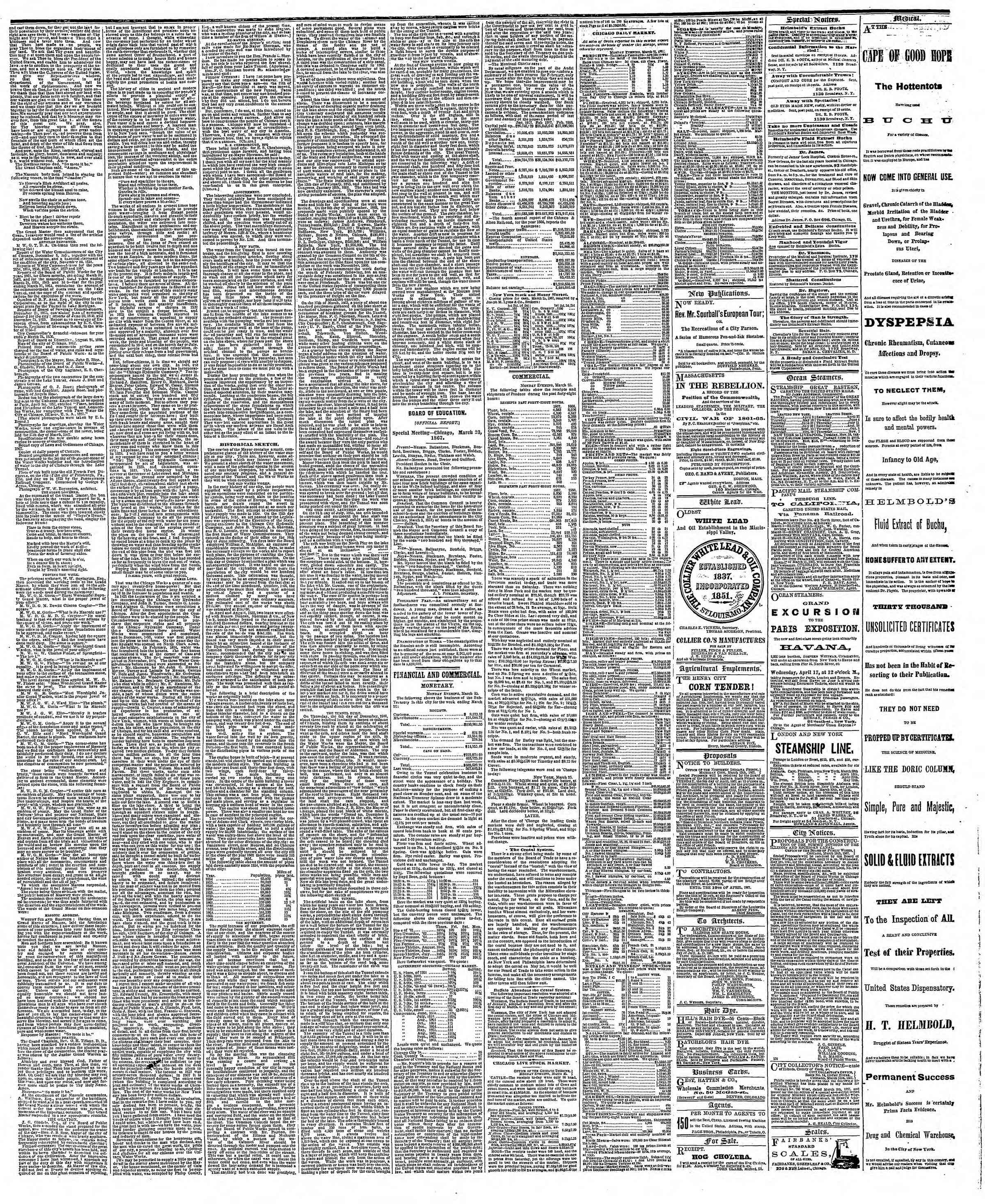 Newspaper of The Chicago Tribune dated March 26, 1867 Page 3