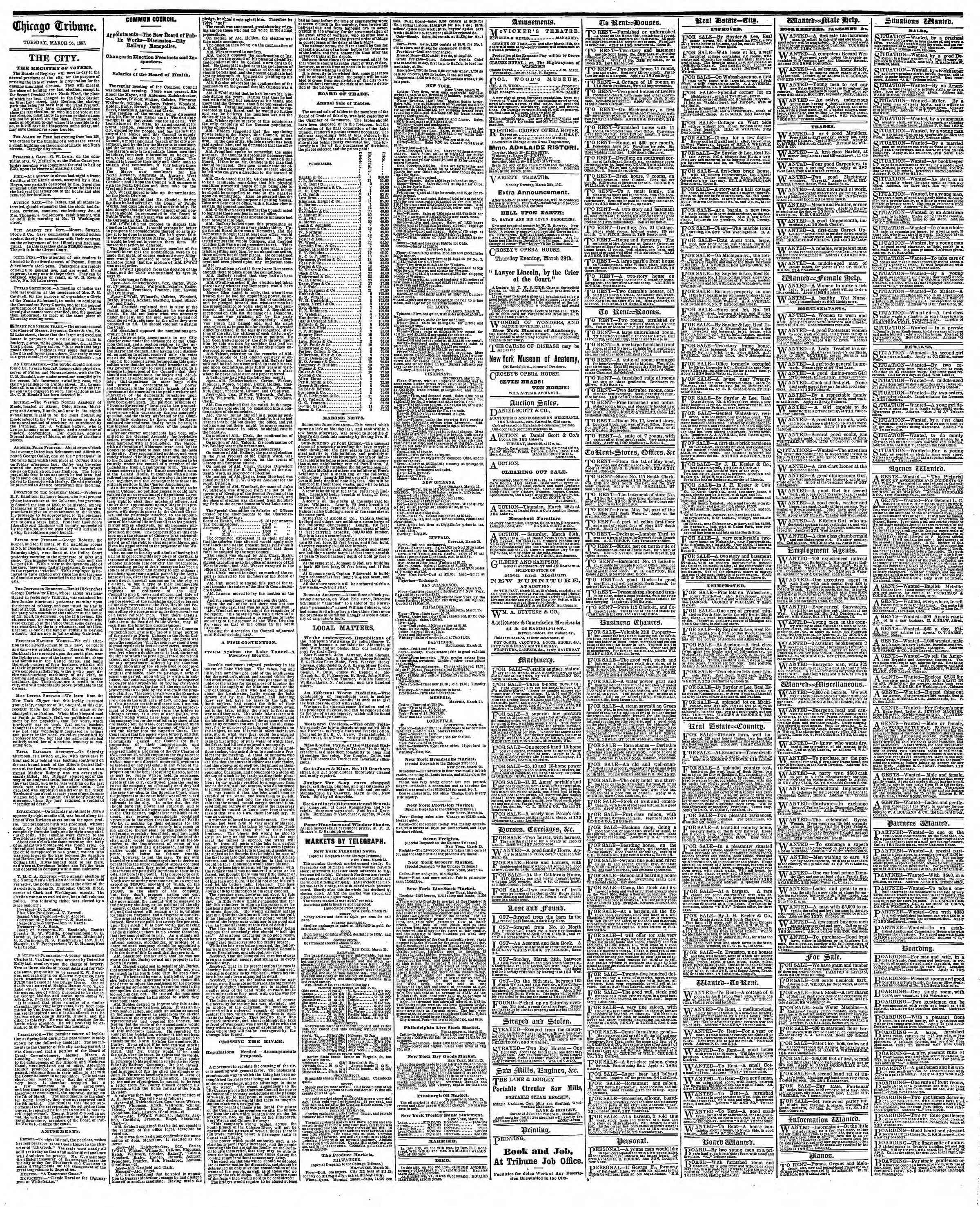 Newspaper of The Chicago Tribune dated March 26, 1867 Page 4