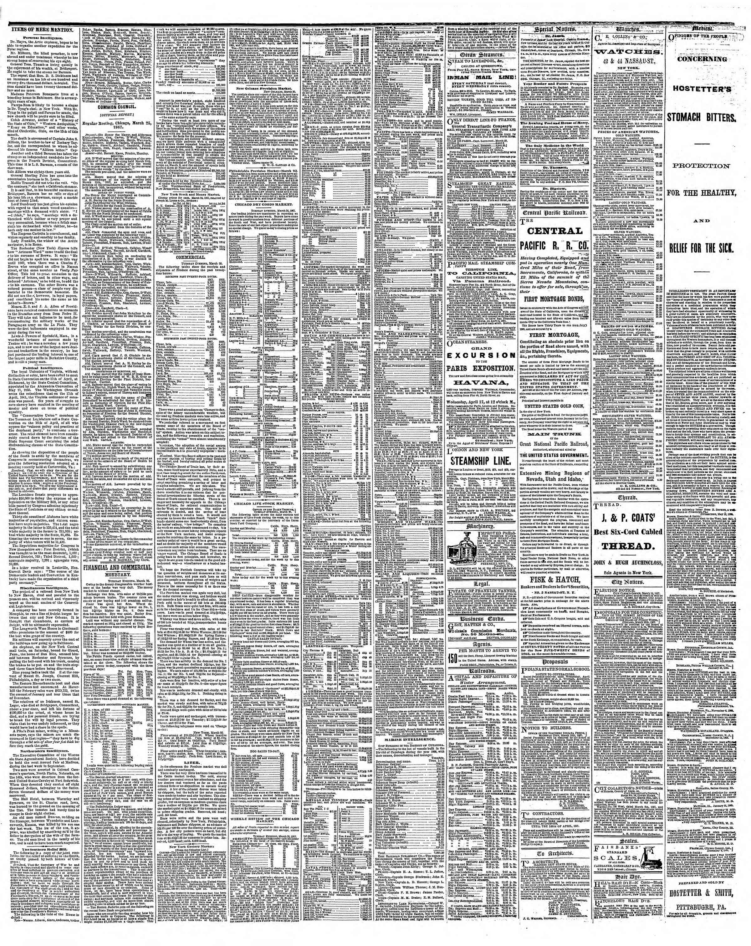 Newspaper of The Chicago Tribune dated March 27, 1867 Page 3