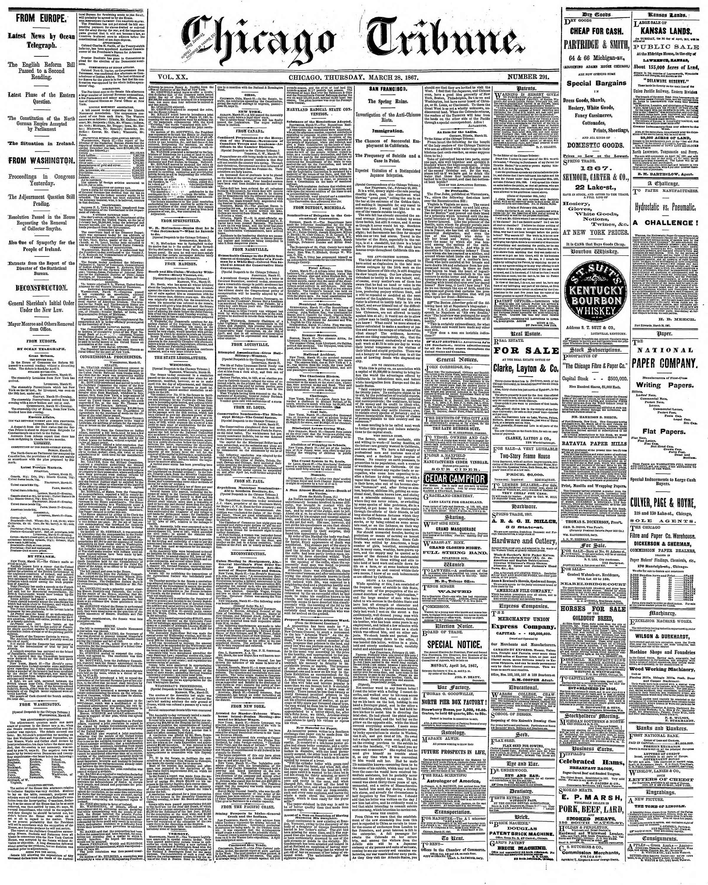 Newspaper of The Chicago Tribune dated March 28, 1867 Page 1