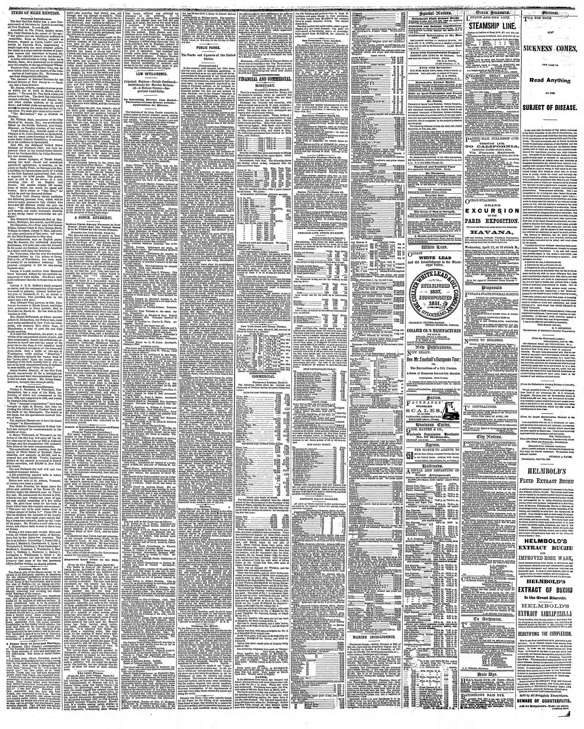 Newspaper of The Chicago Tribune dated March 28, 1867 Page 3