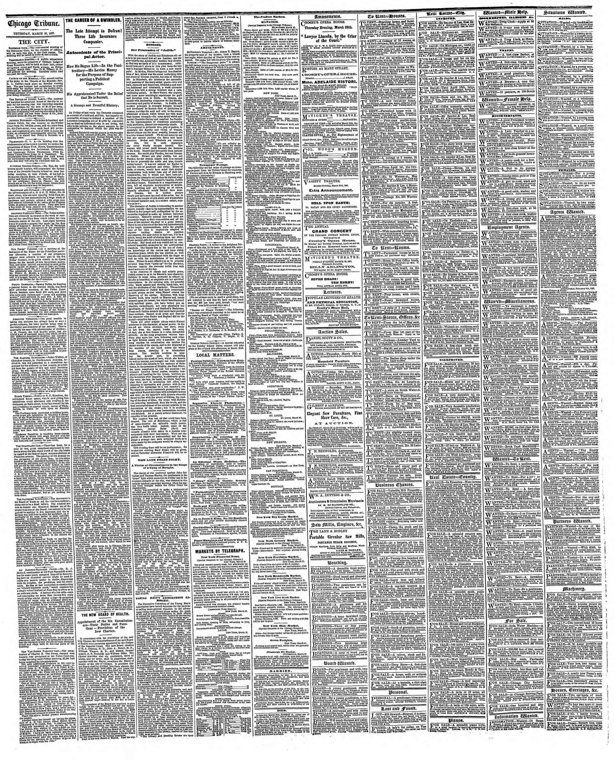 Newspaper of The Chicago Tribune dated March 28, 1867 Page 4