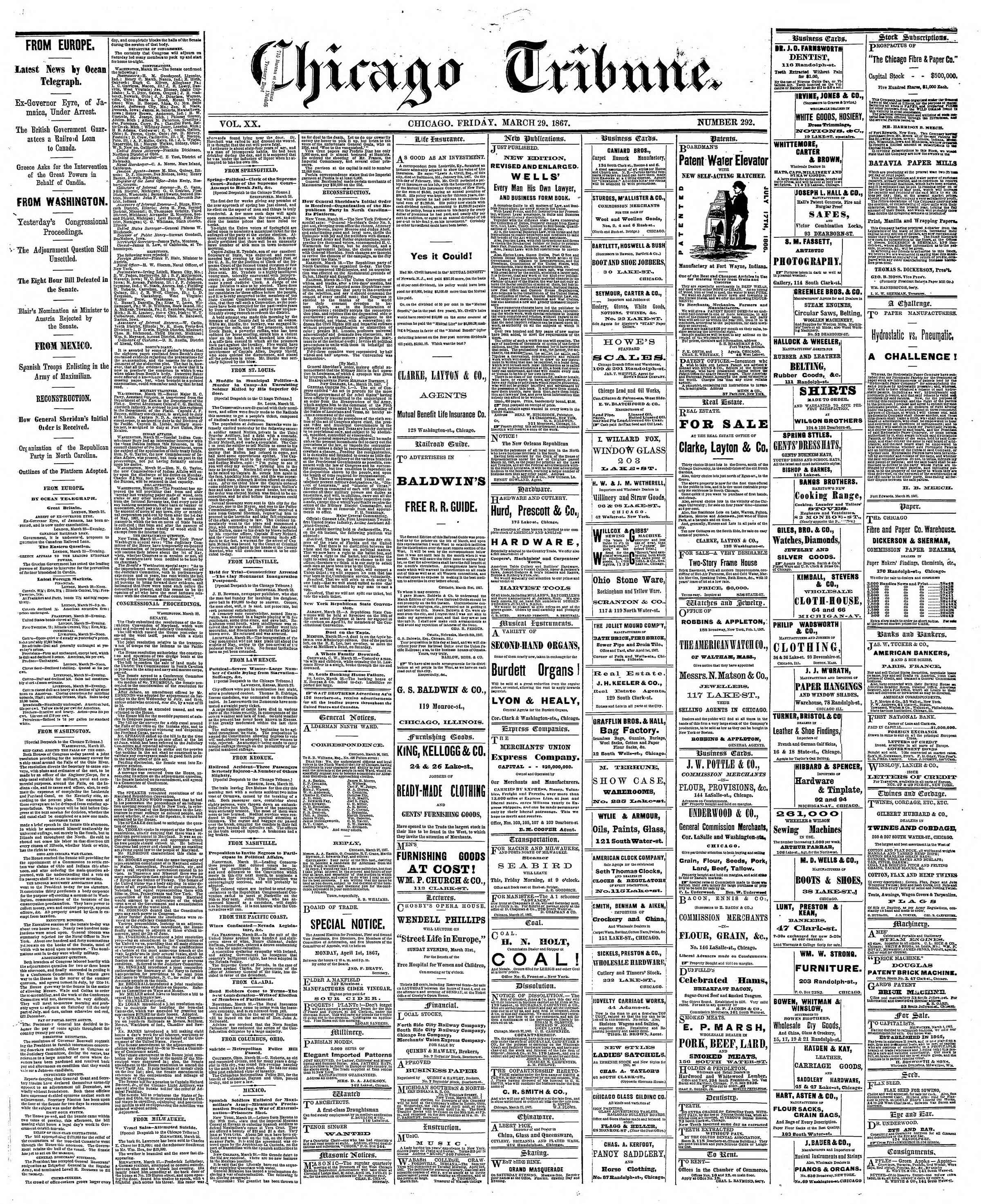 Newspaper of The Chicago Tribune dated March 29, 1867 Page 1