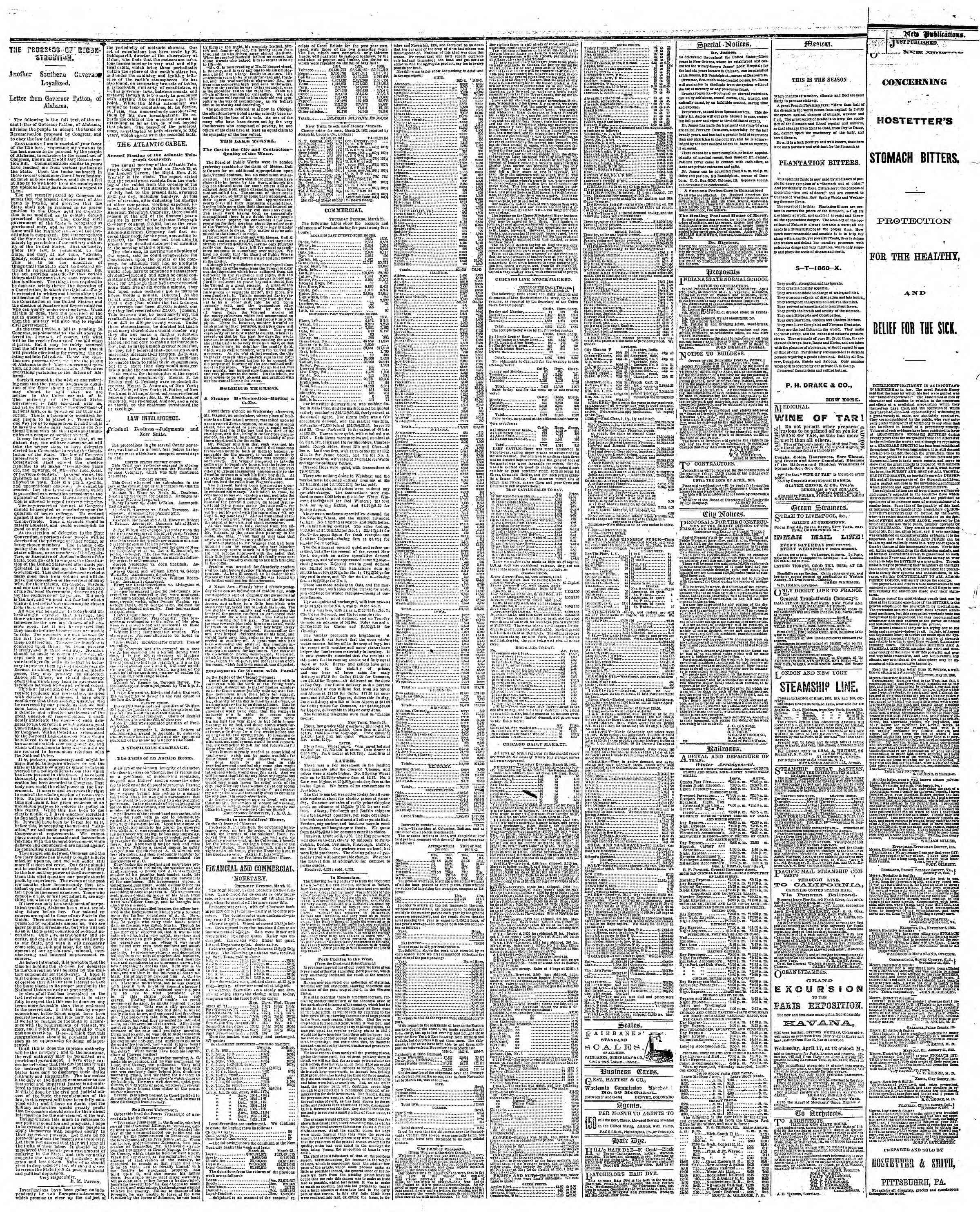 Newspaper of The Chicago Tribune dated March 29, 1867 Page 3