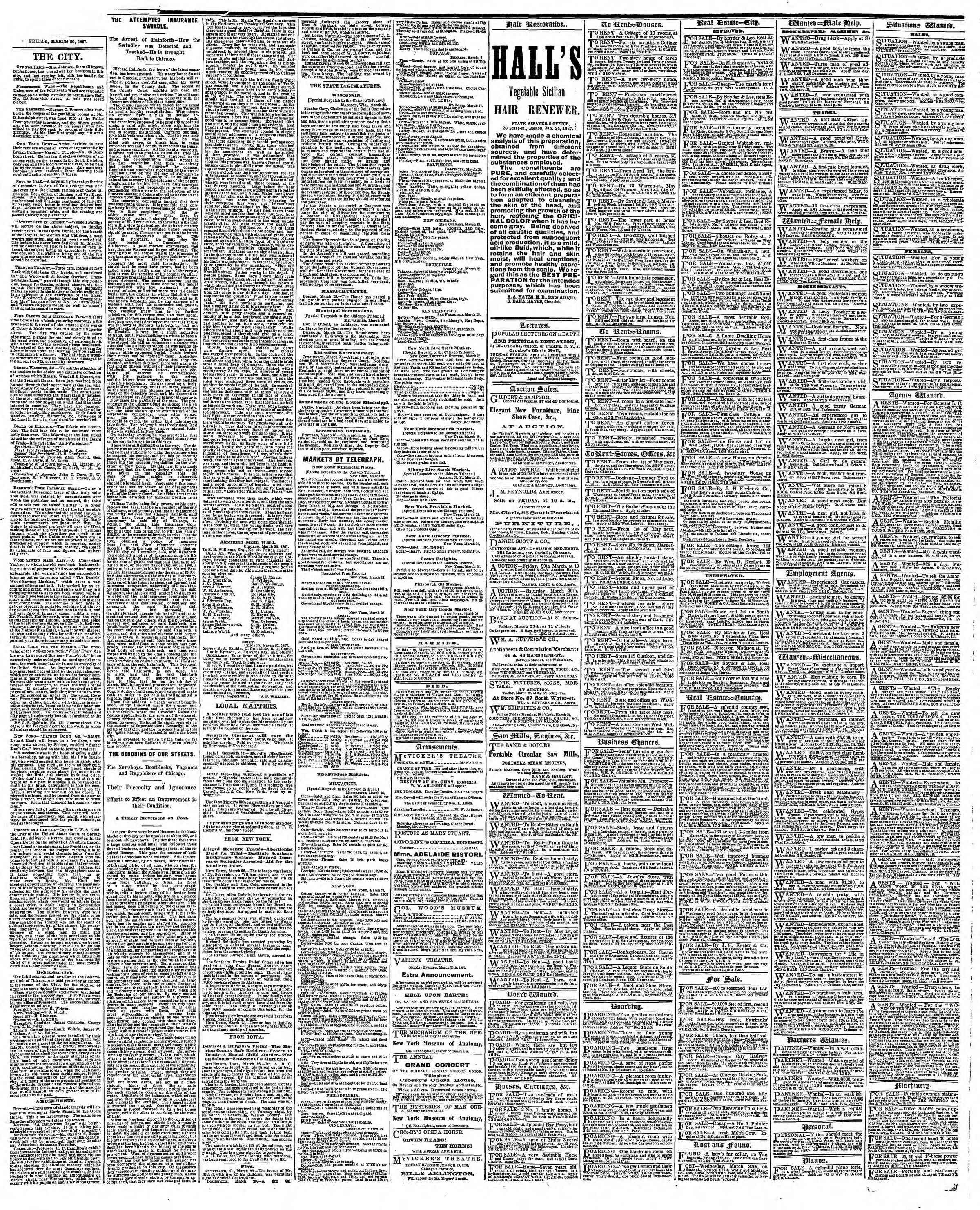 Newspaper of The Chicago Tribune dated March 29, 1867 Page 4