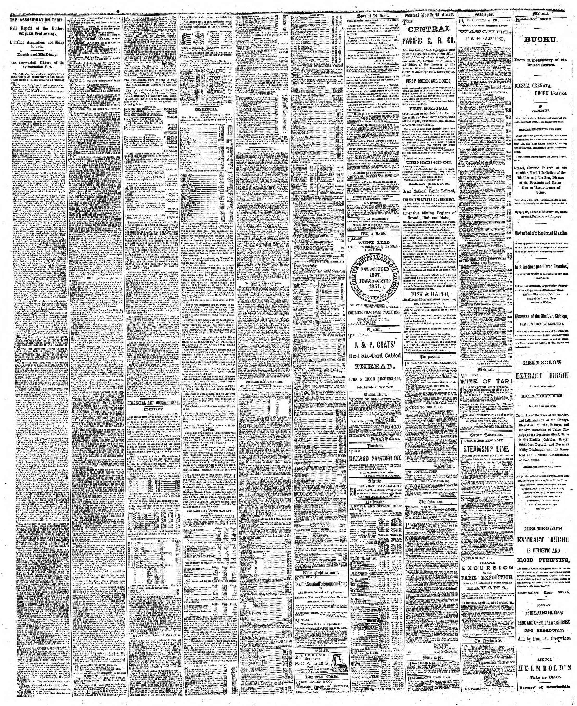 Newspaper of The Chicago Tribune dated March 30, 1867 Page 3