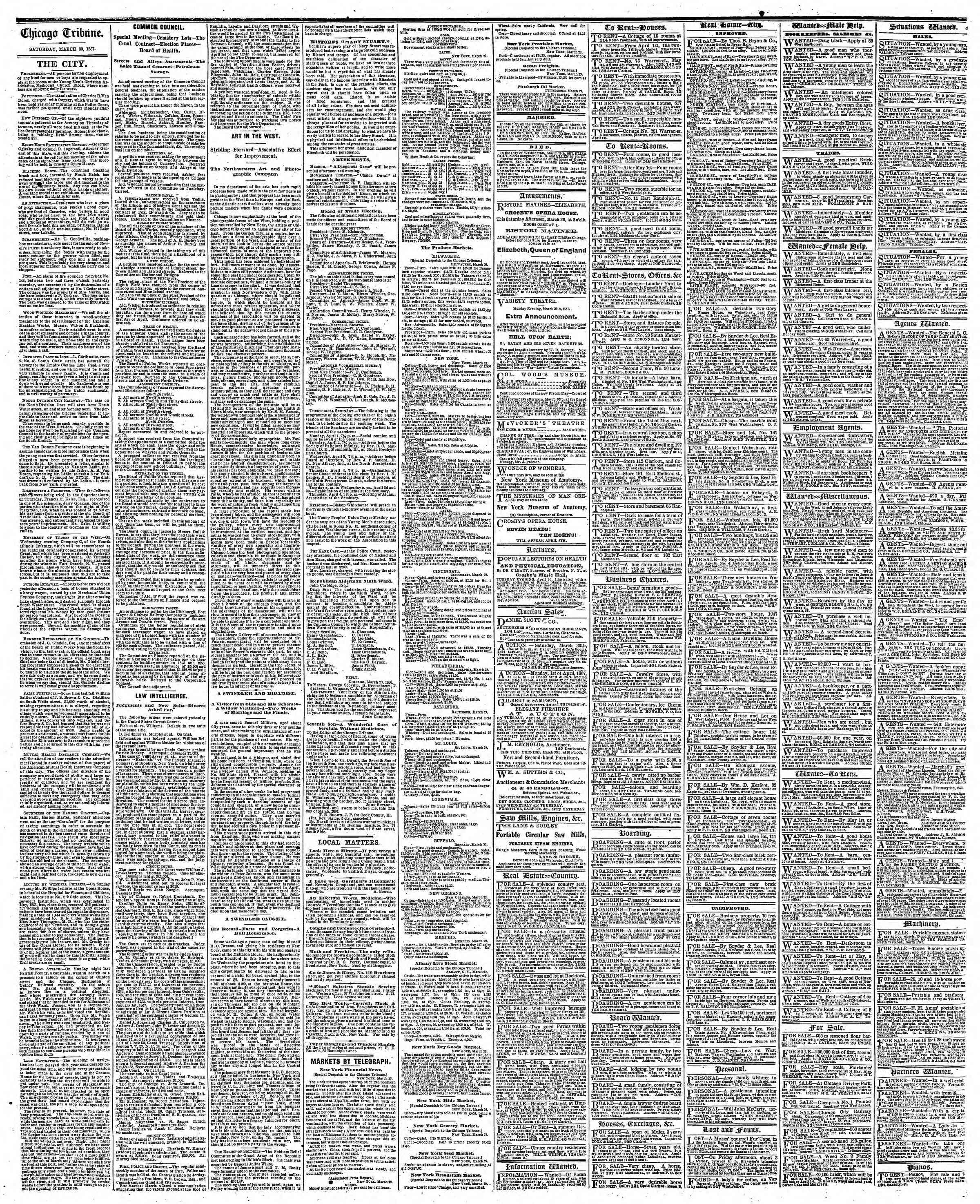 Newspaper of The Chicago Tribune dated March 30, 1867 Page 4