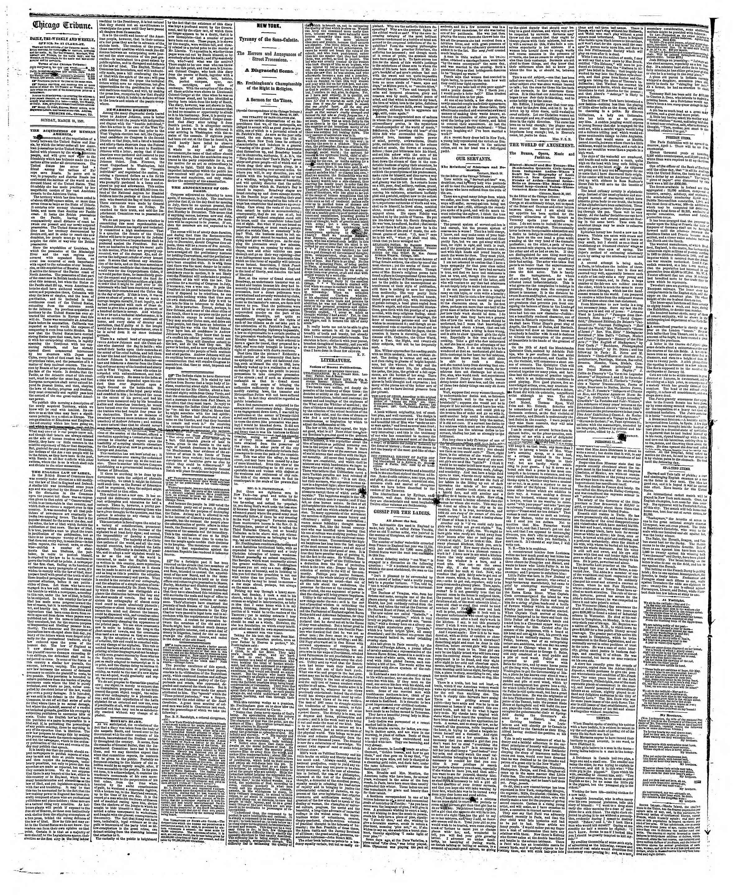 Newspaper of The Chicago Tribune dated March 31, 1867 Page 2