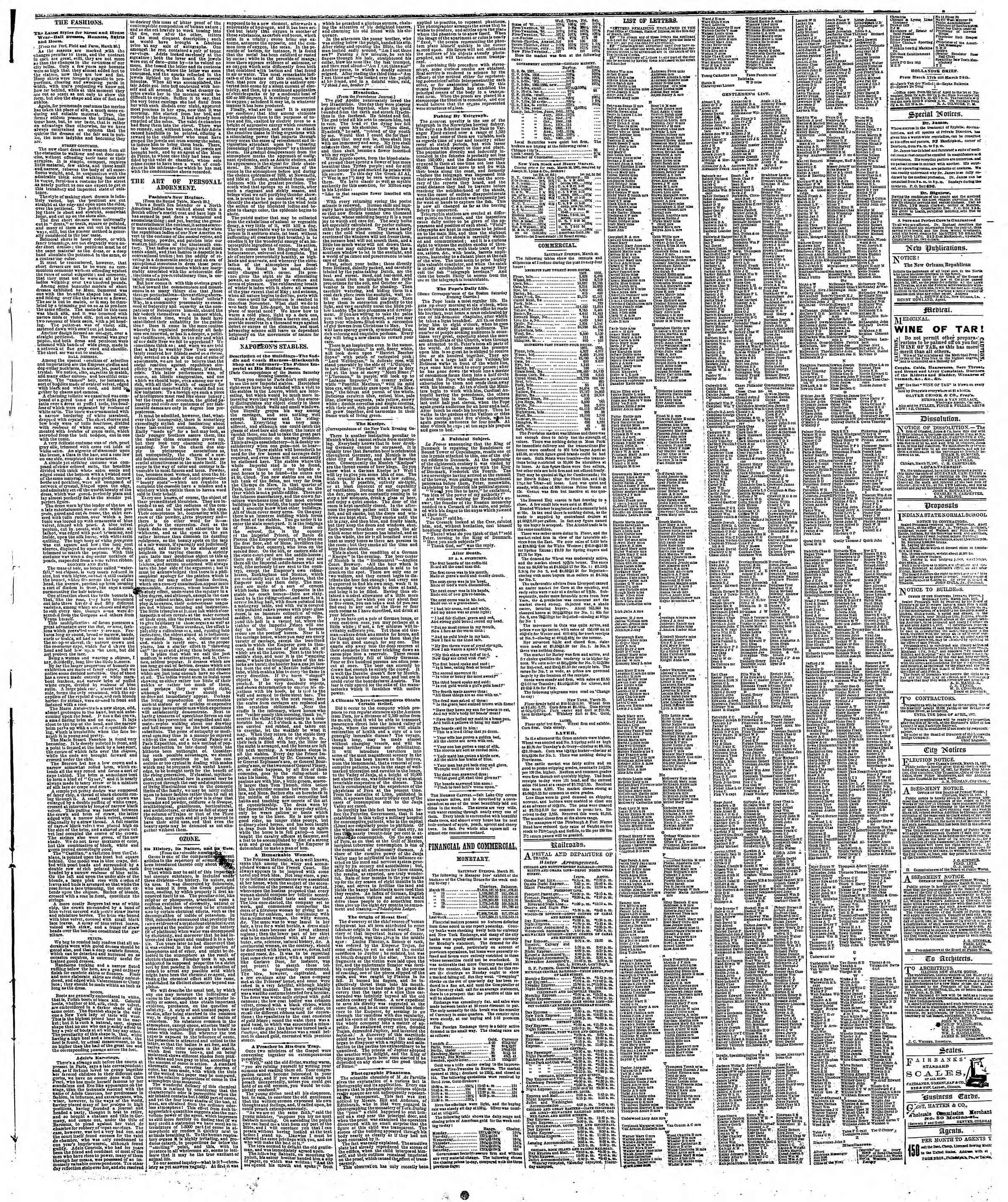Newspaper of The Chicago Tribune dated March 31, 1867 Page 3