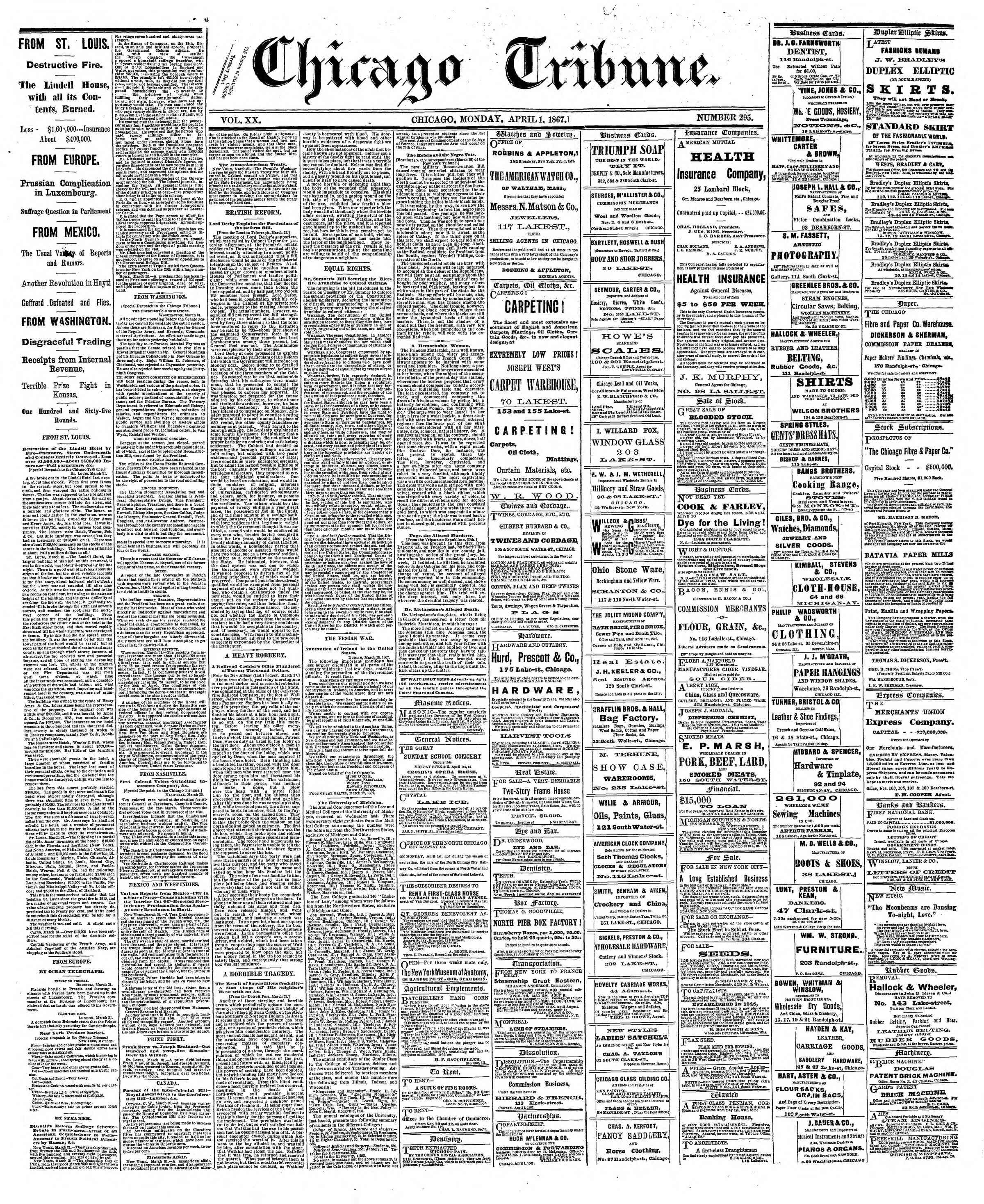 Newspaper of The Chicago Tribune dated April 1, 1867 Page 1
