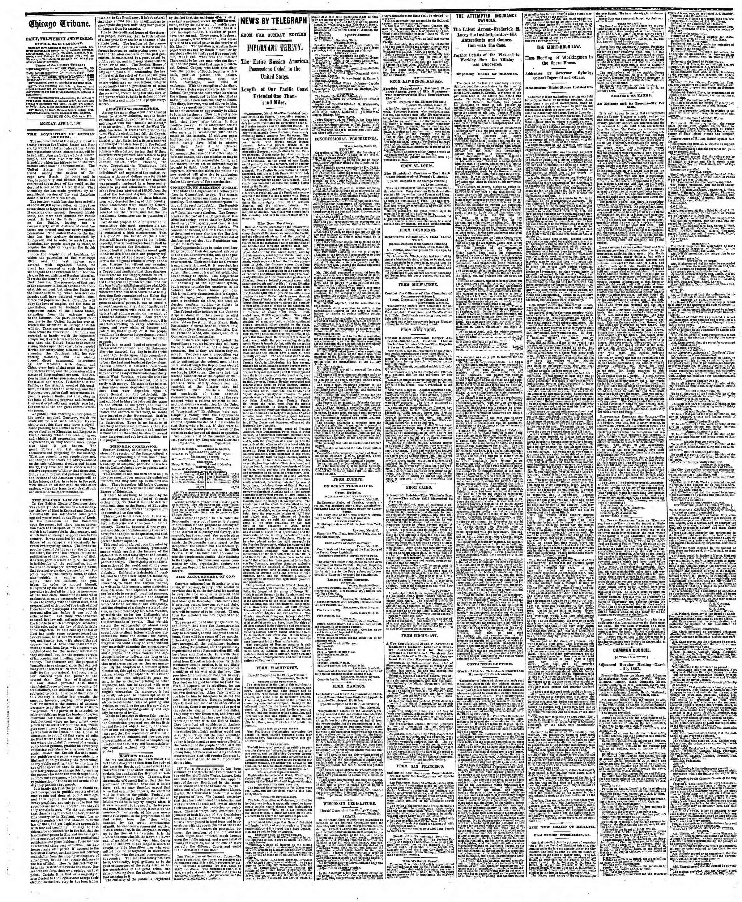 Newspaper of The Chicago Tribune dated April 1, 1867 Page 2