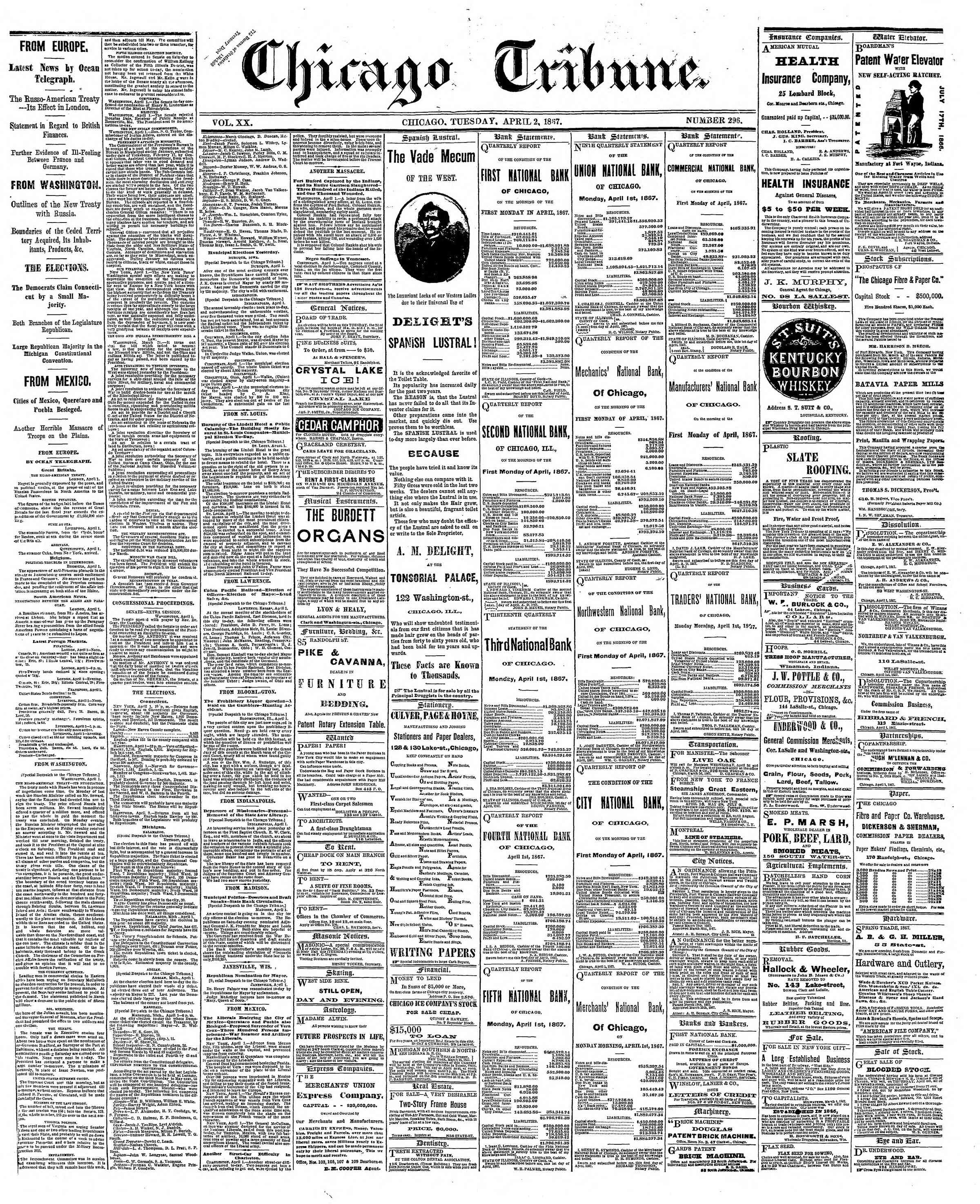 Newspaper of The Chicago Tribune dated April 2, 1867 Page 1