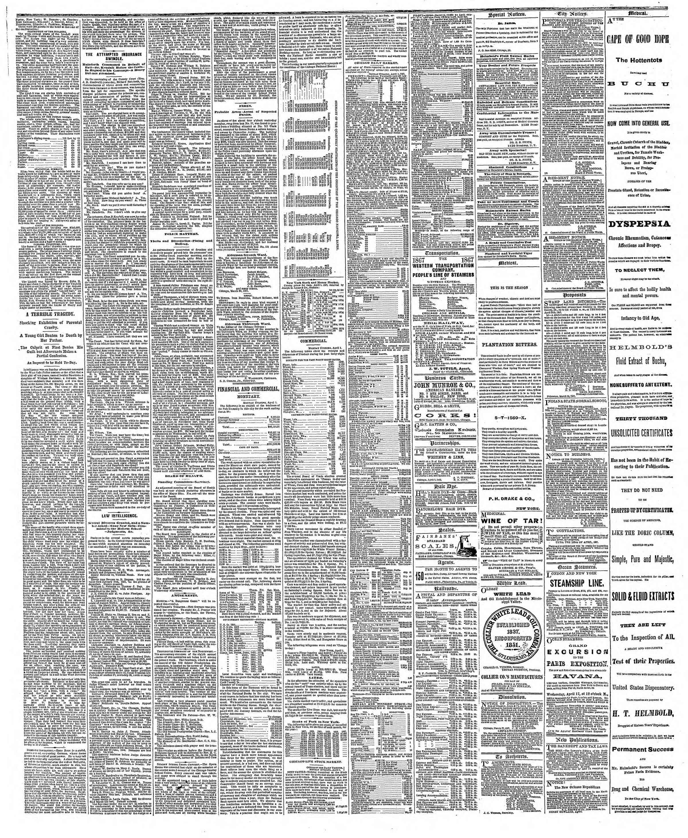 Newspaper of The Chicago Tribune dated April 2, 1867 Page 3