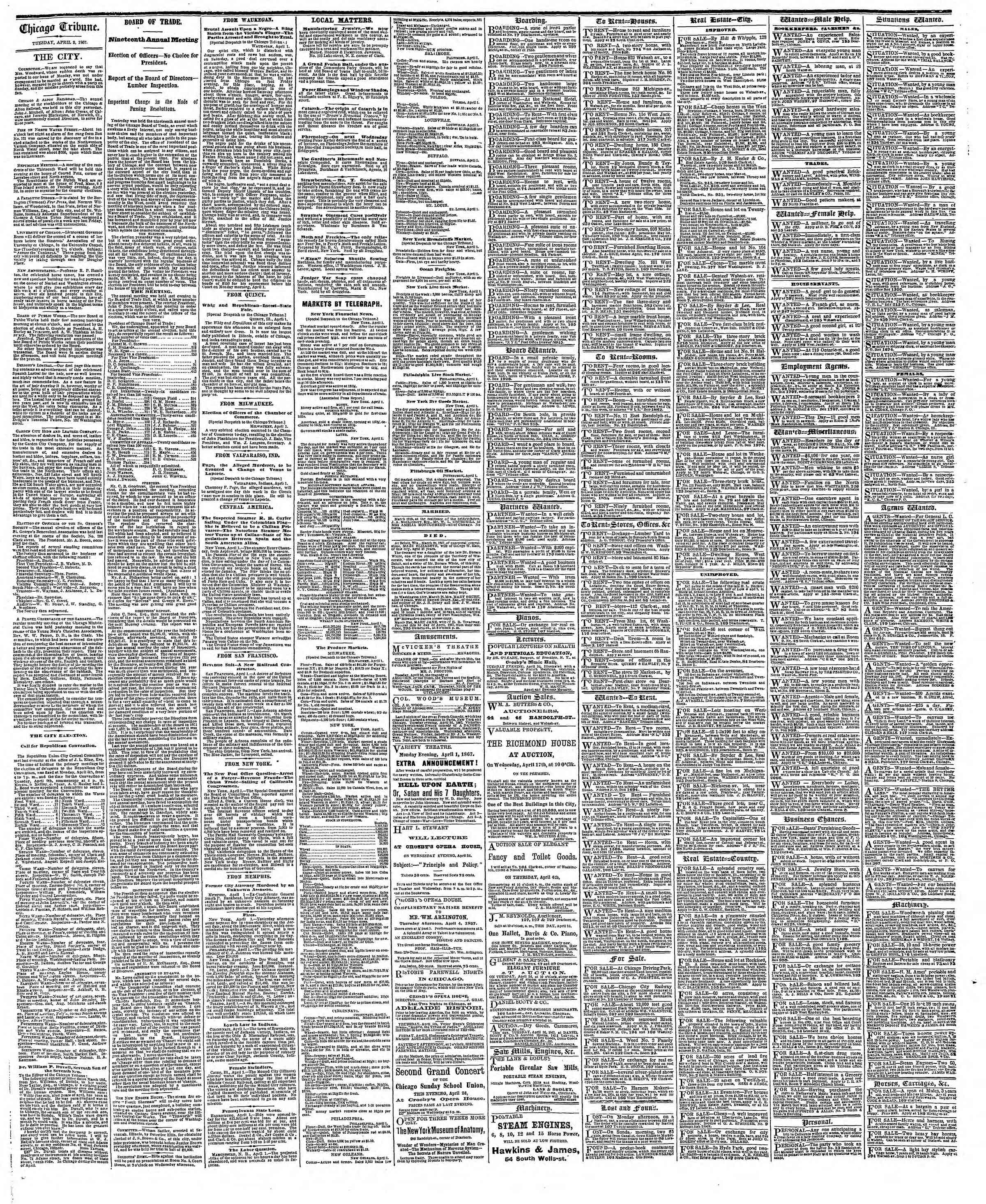 Newspaper of The Chicago Tribune dated April 2, 1867 Page 4