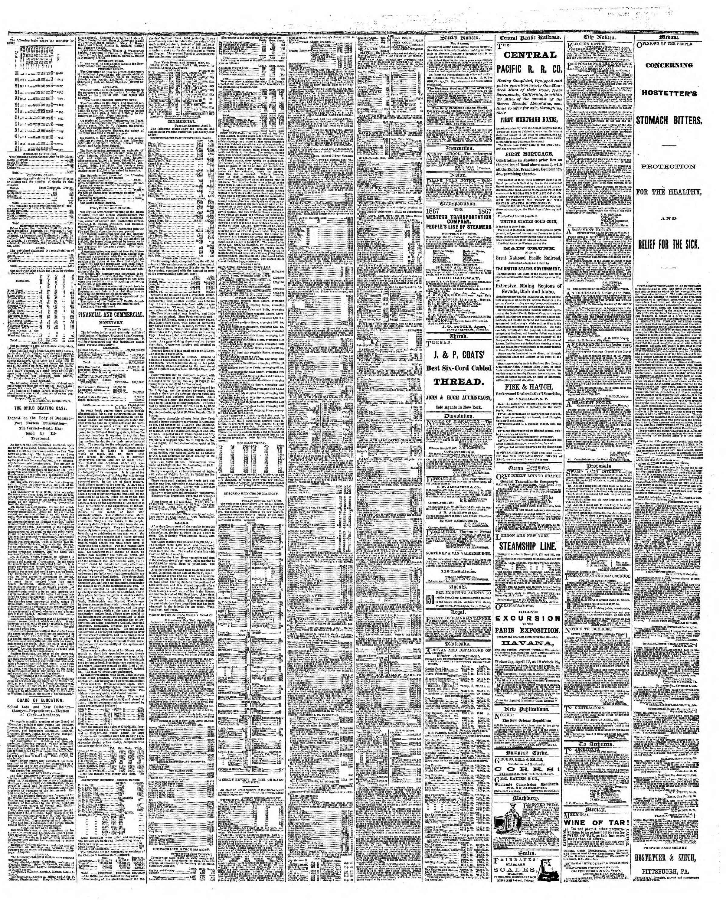 Newspaper of The Chicago Tribune dated April 3, 1867 Page 3