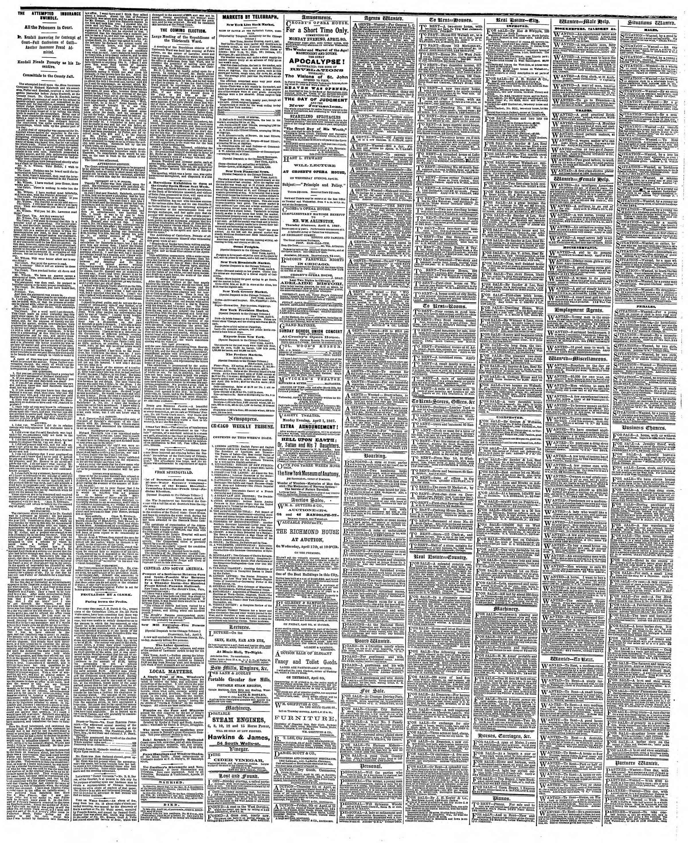 Newspaper of The Chicago Tribune dated April 3, 1867 Page 4