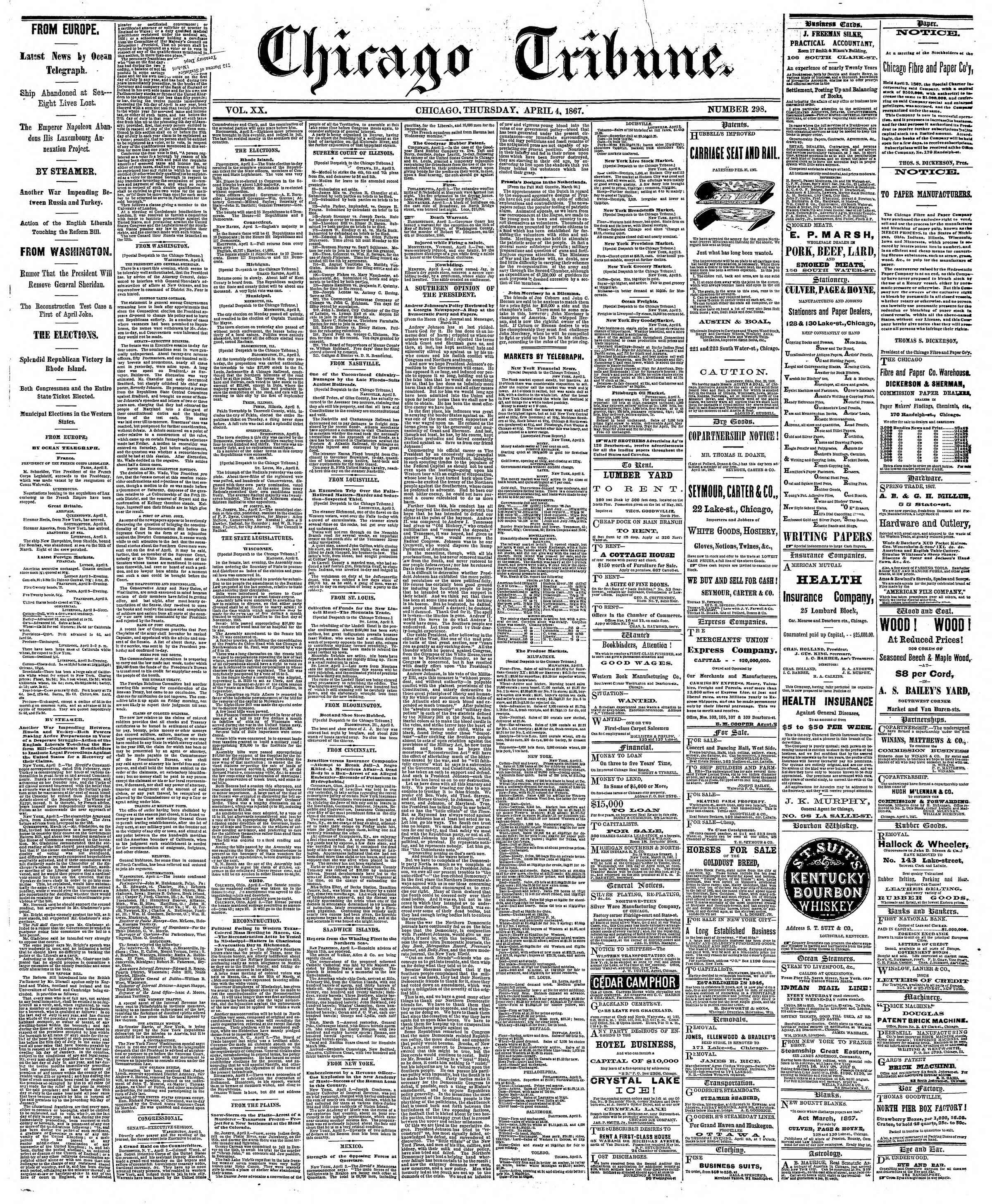 Newspaper of The Chicago Tribune dated April 4, 1867 Page 1