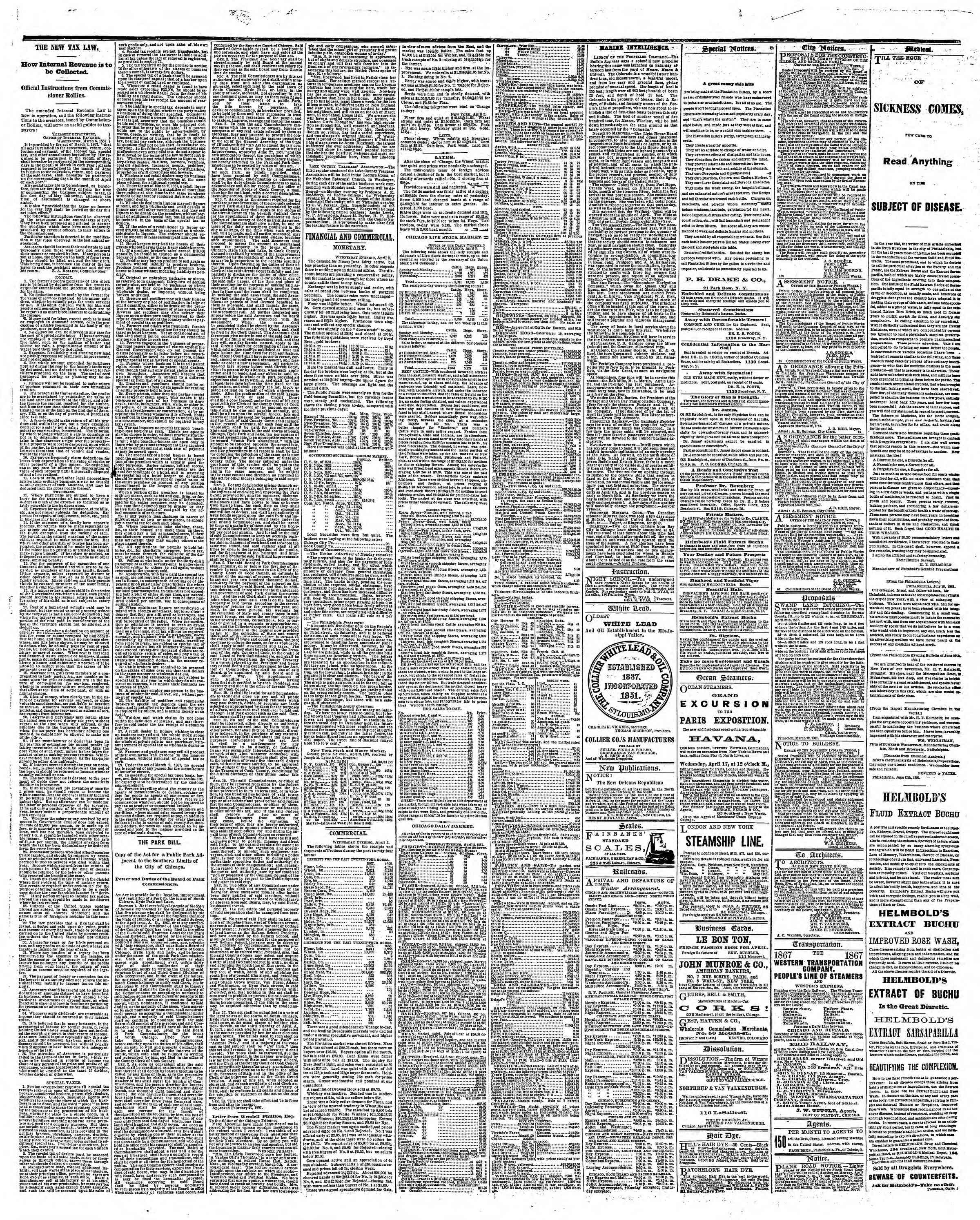 Newspaper of The Chicago Tribune dated April 4, 1867 Page 3