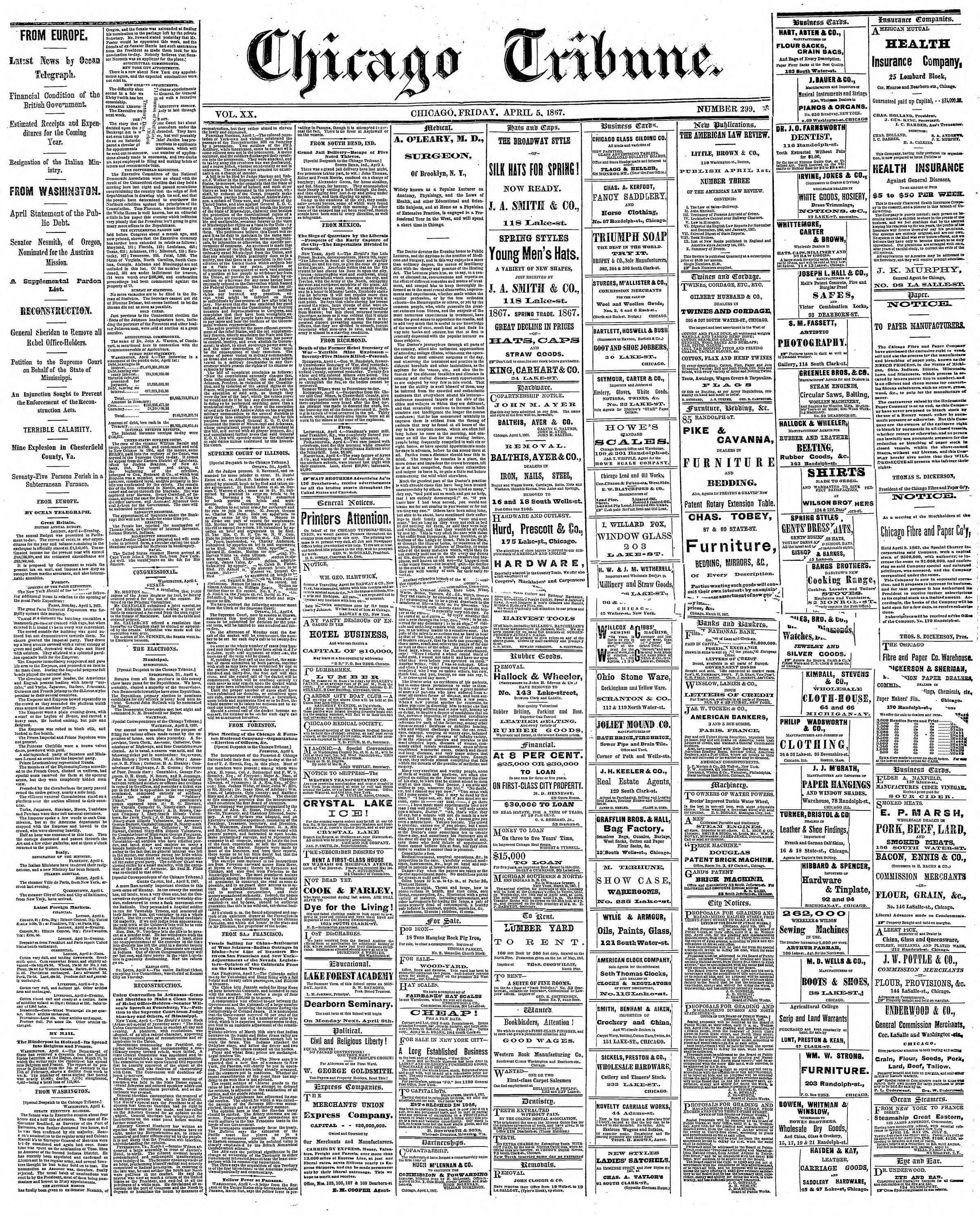 Newspaper of The Chicago Tribune dated April 5, 1867 Page 1