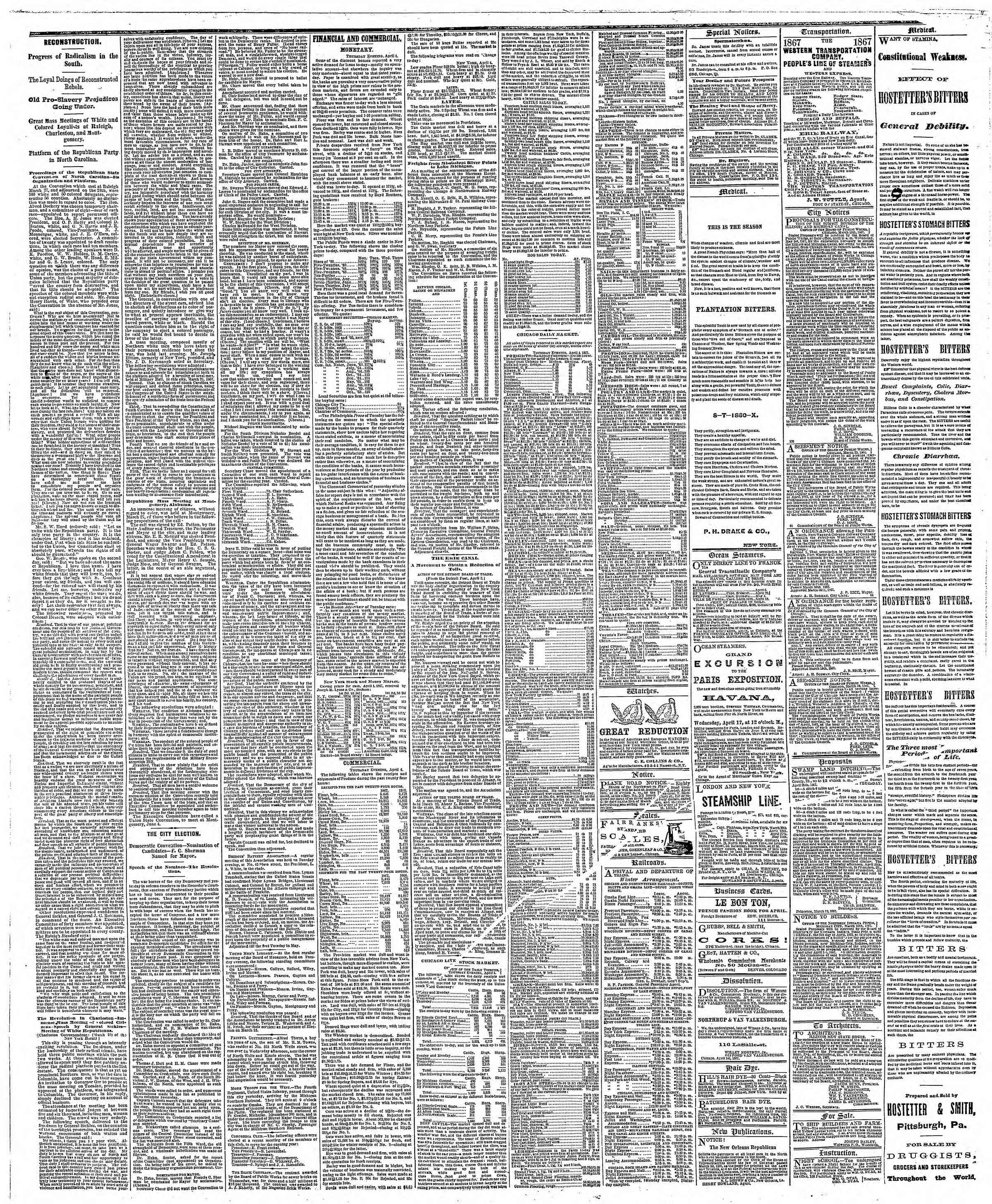 Newspaper of The Chicago Tribune dated April 5, 1867 Page 3