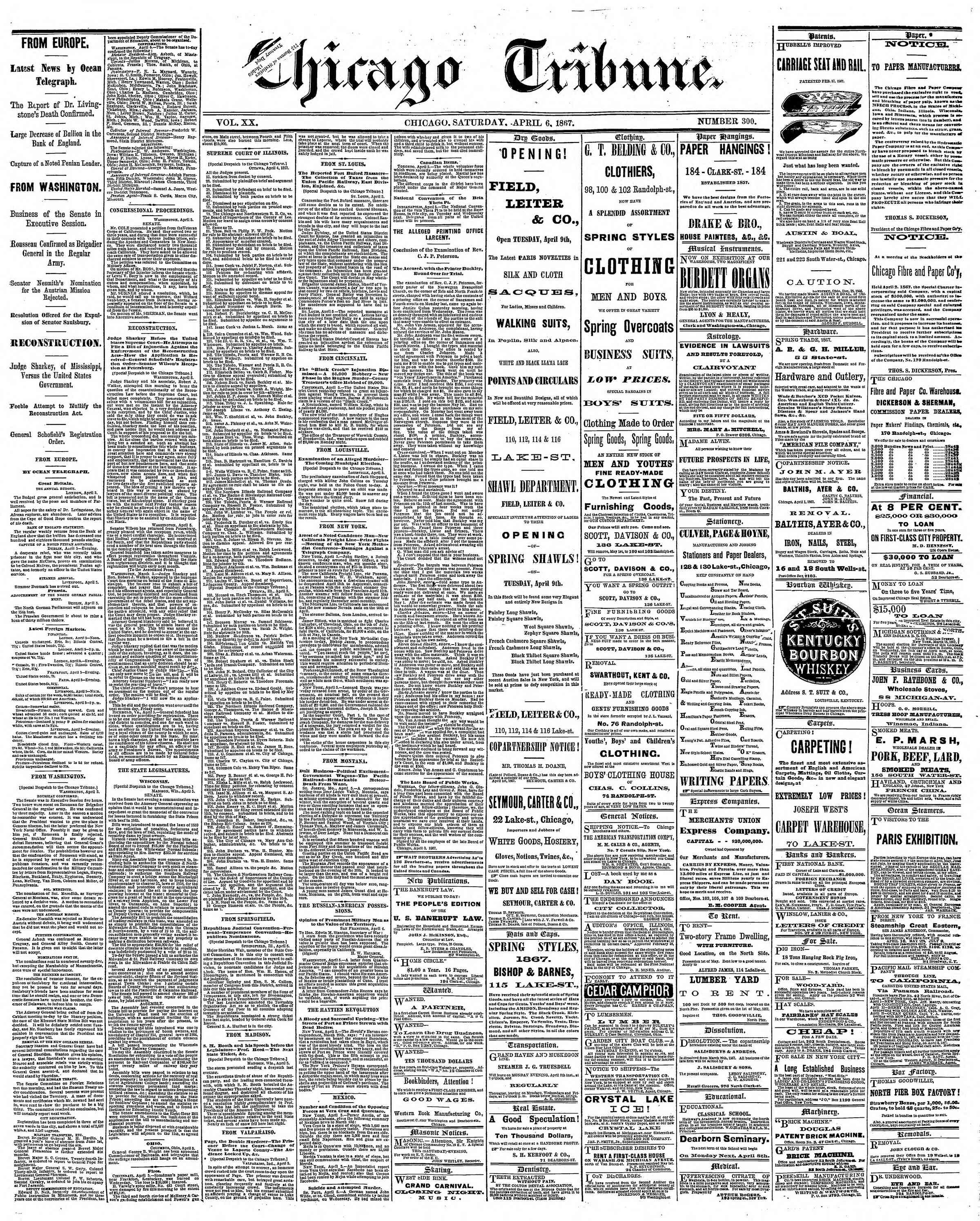 Newspaper of The Chicago Tribune dated April 6, 1867 Page 1