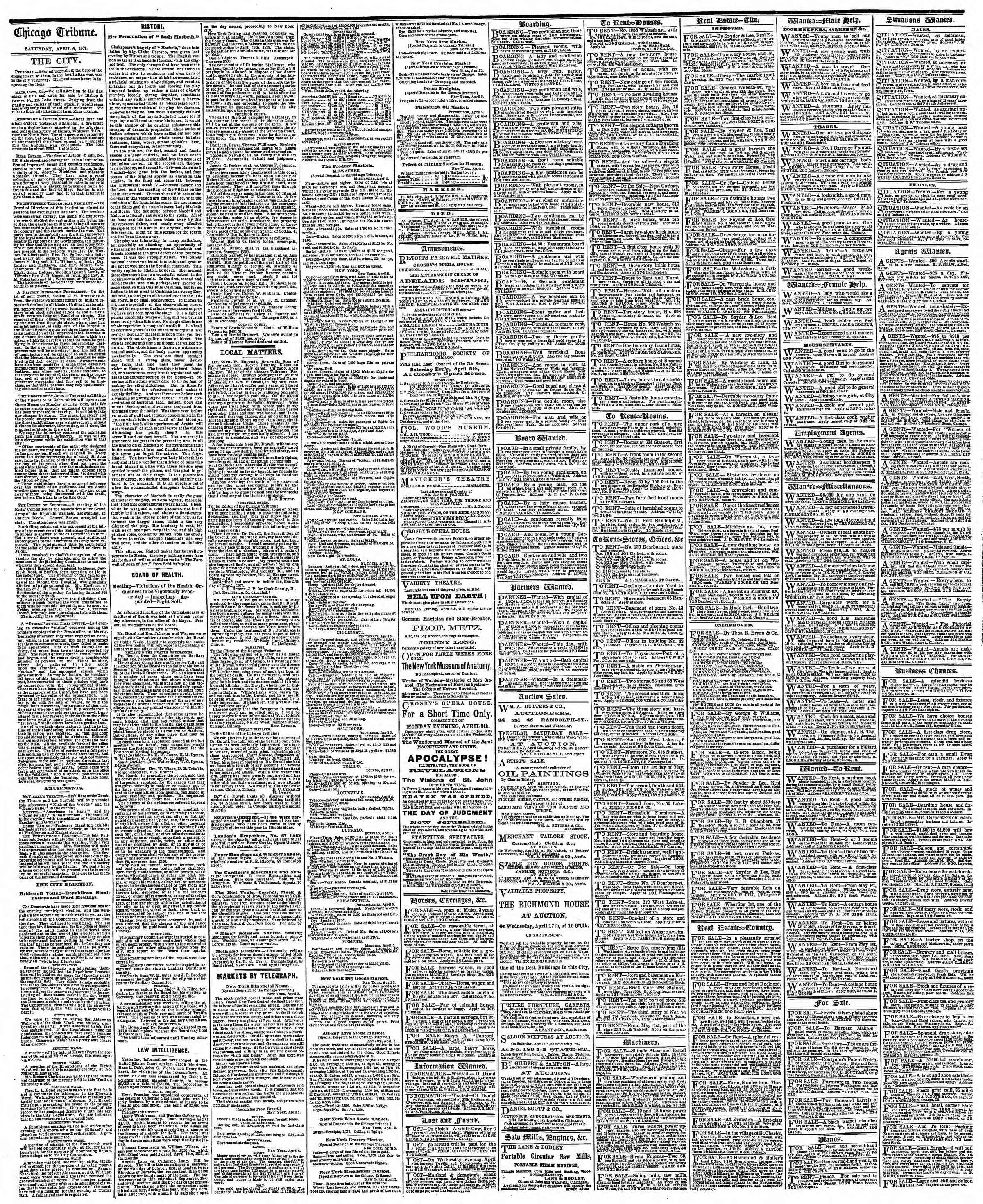 Newspaper of The Chicago Tribune dated April 6, 1867 Page 4