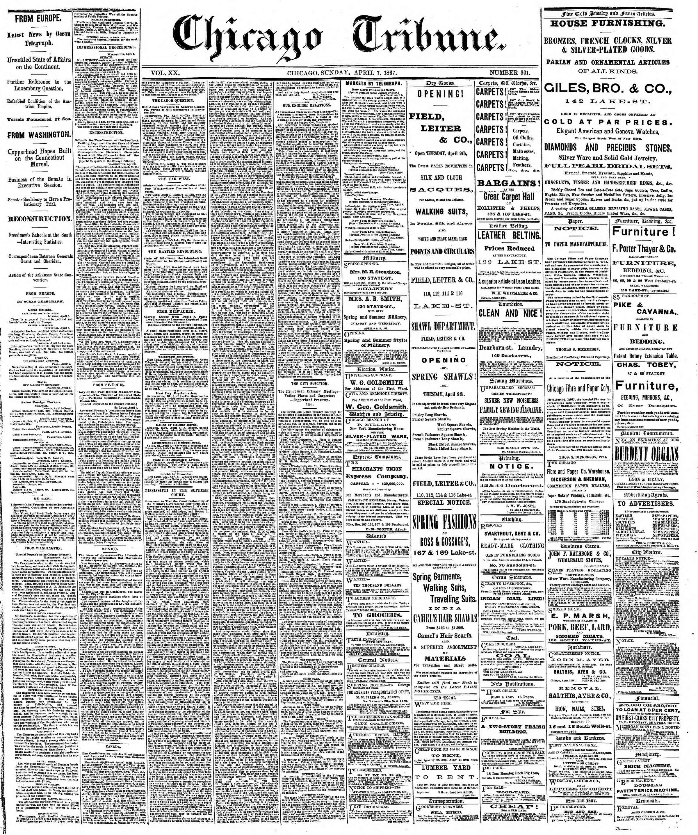 Newspaper of The Chicago Tribune dated April 7, 1867 Page 1