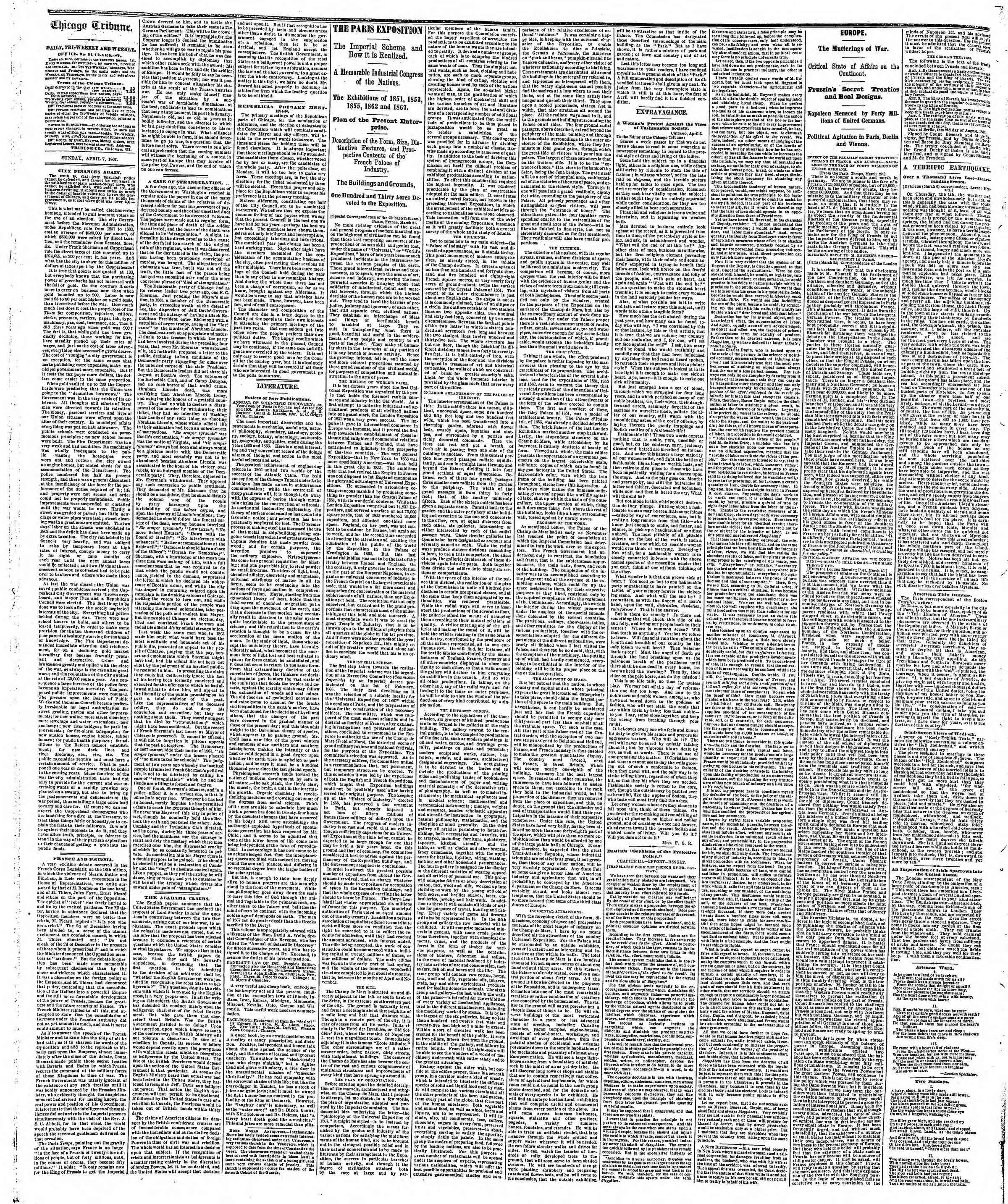 Newspaper of The Chicago Tribune dated April 7, 1867 Page 2
