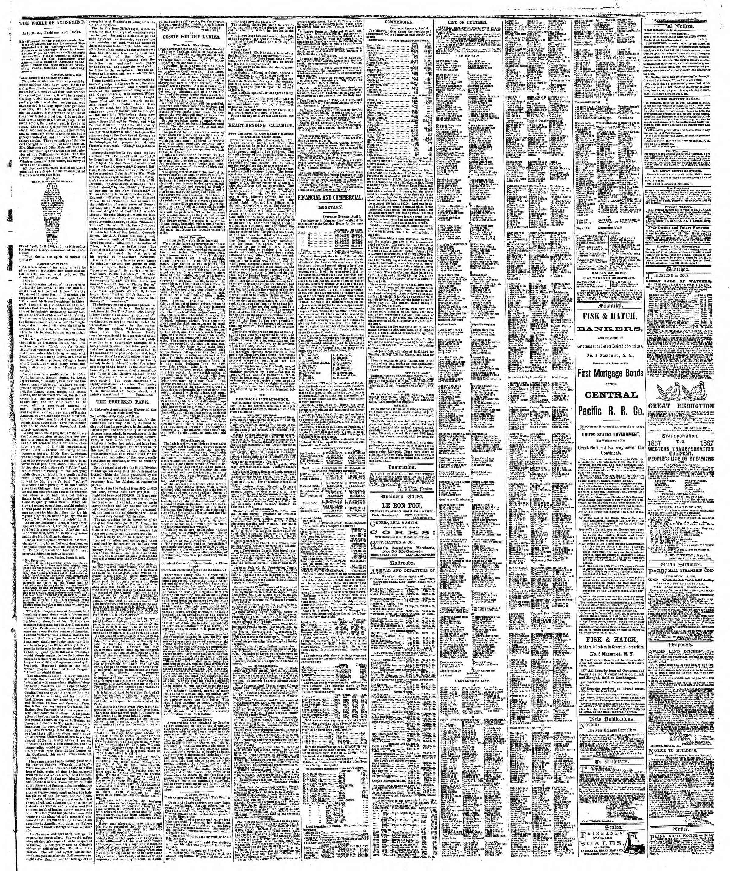 Newspaper of The Chicago Tribune dated April 7, 1867 Page 3