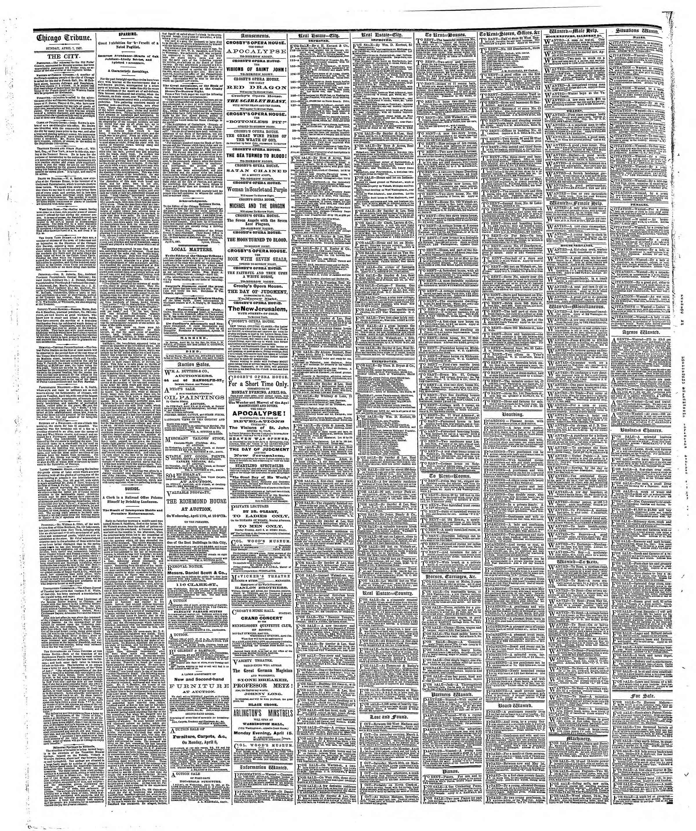 Newspaper of The Chicago Tribune dated April 7, 1867 Page 4