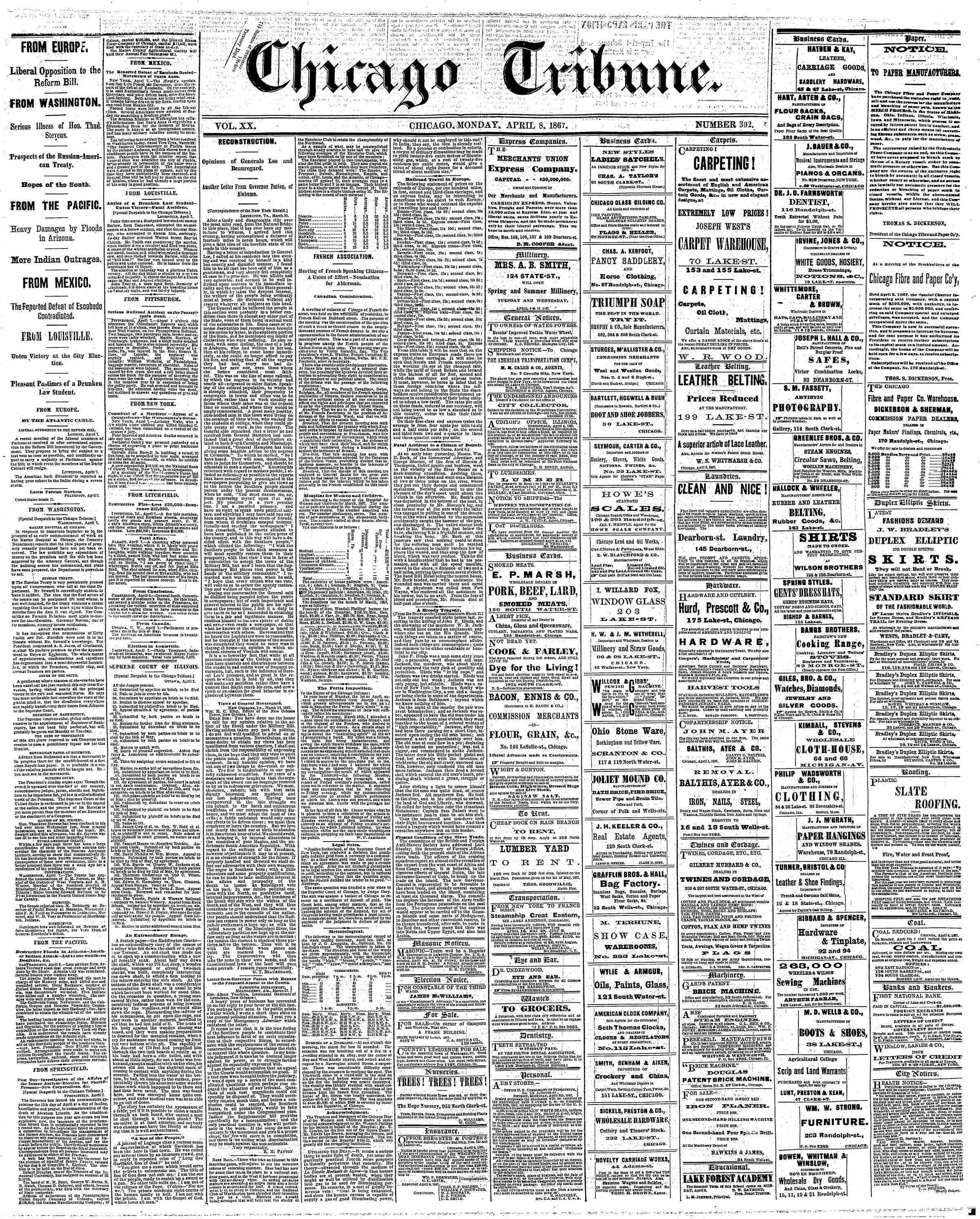 Newspaper of The Chicago Tribune dated April 8, 1867 Page 1