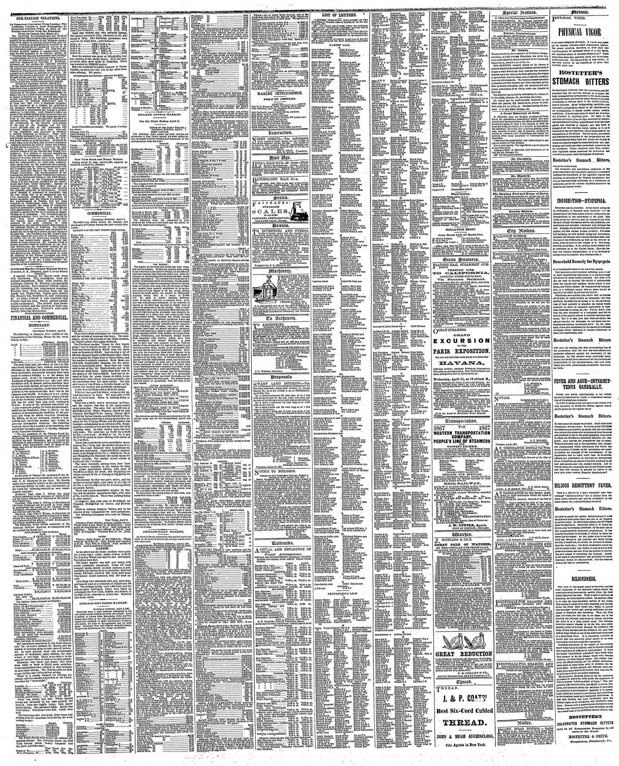 Newspaper of The Chicago Tribune dated April 8, 1867 Page 3