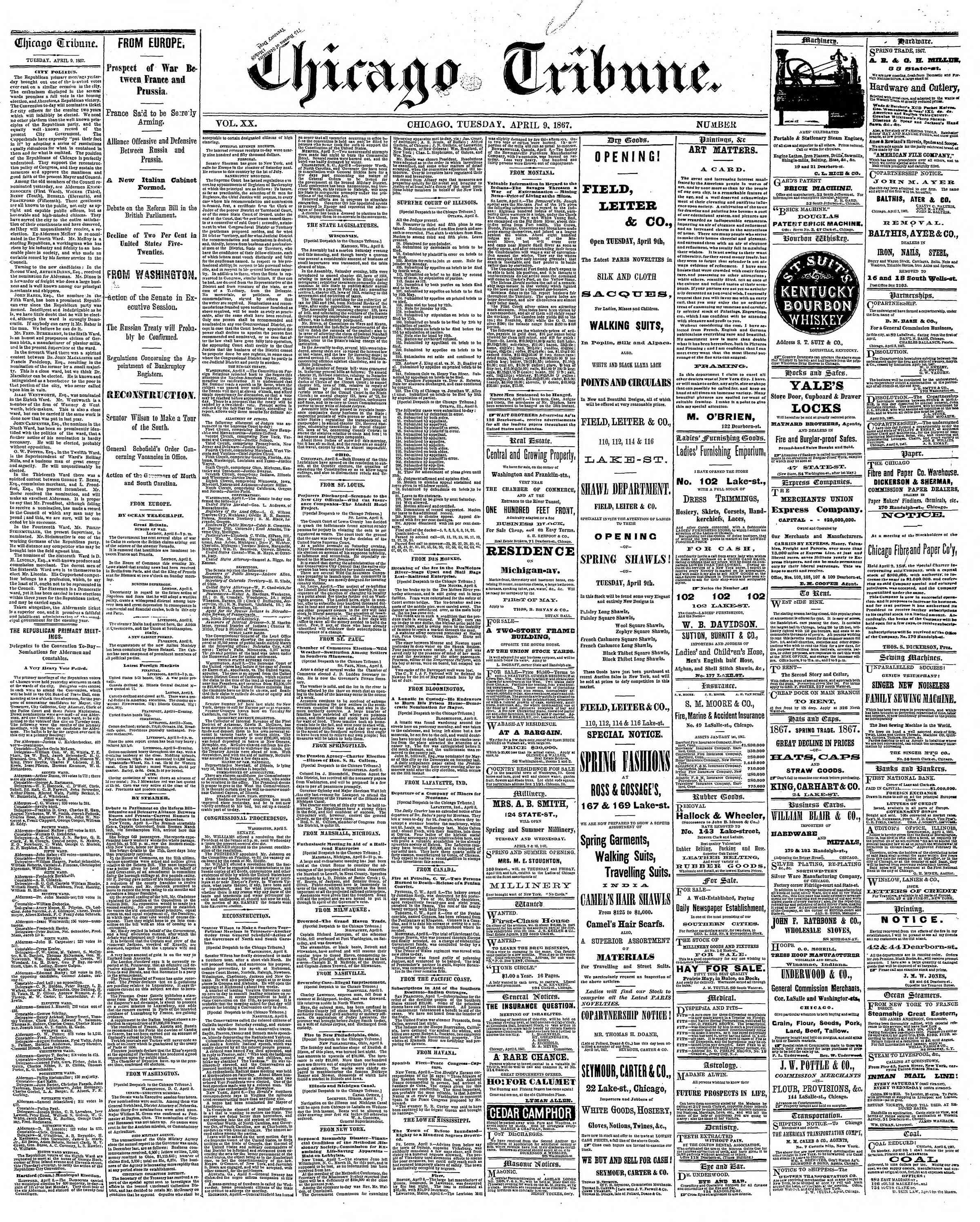 Newspaper of The Chicago Tribune dated April 9, 1867 Page 1