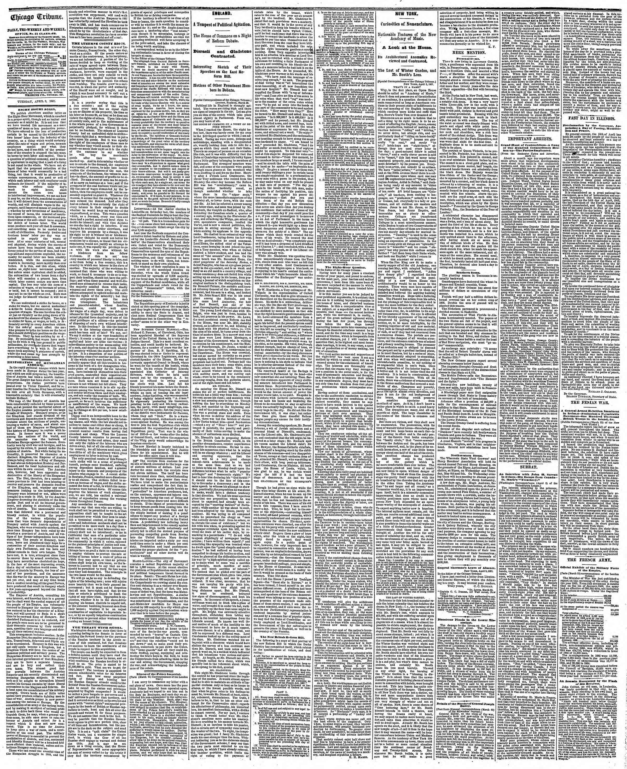Newspaper of The Chicago Tribune dated April 9, 1867 Page 2