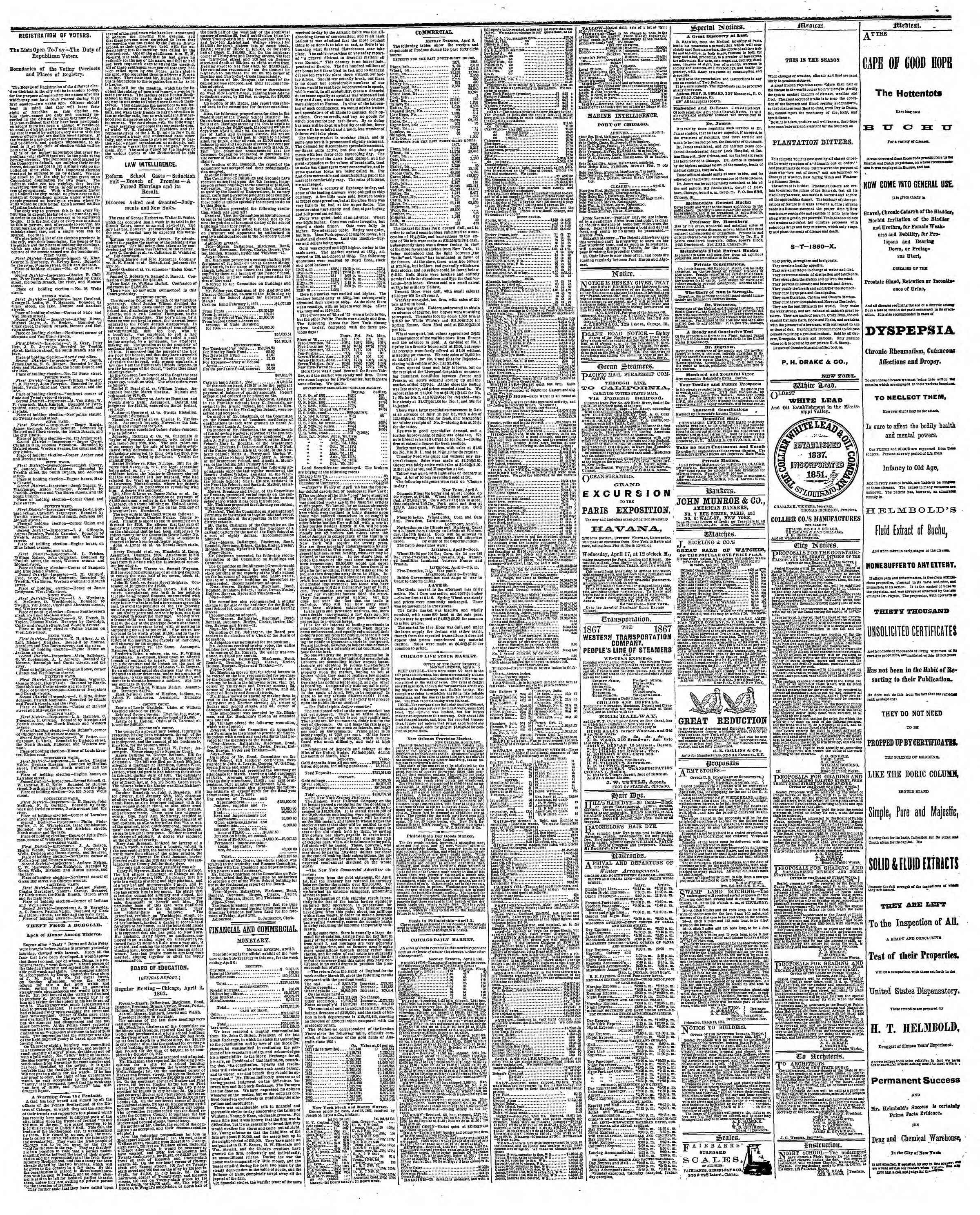 Newspaper of The Chicago Tribune dated April 9, 1867 Page 3