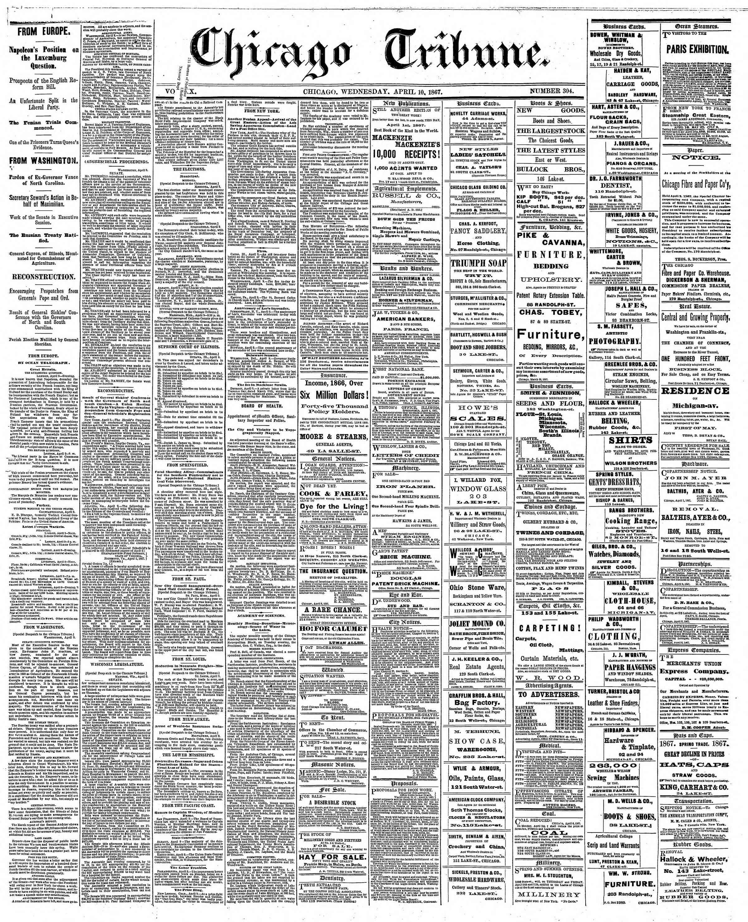 Newspaper of The Chicago Tribune dated April 10, 1867 Page 1