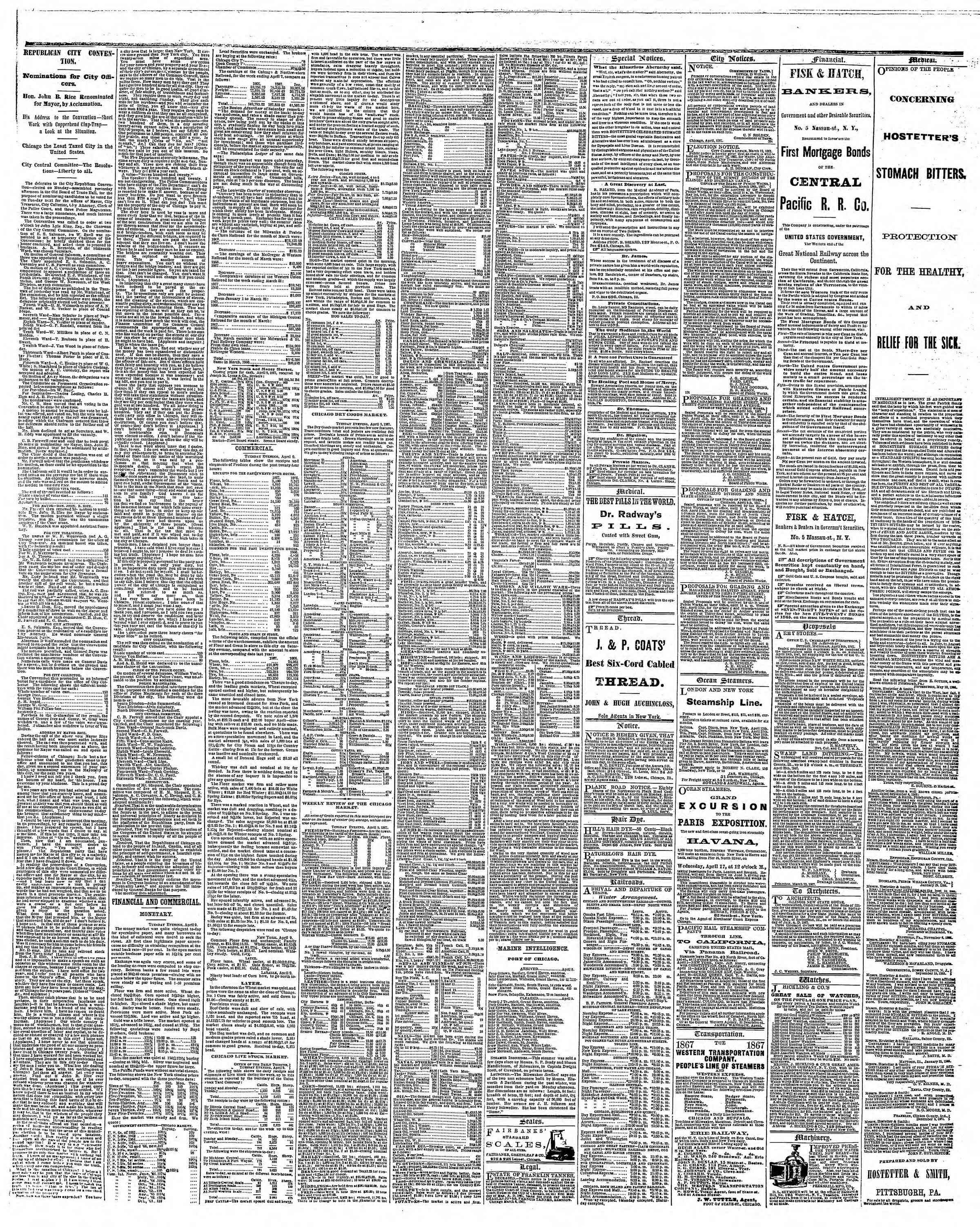 Newspaper of The Chicago Tribune dated April 10, 1867 Page 3