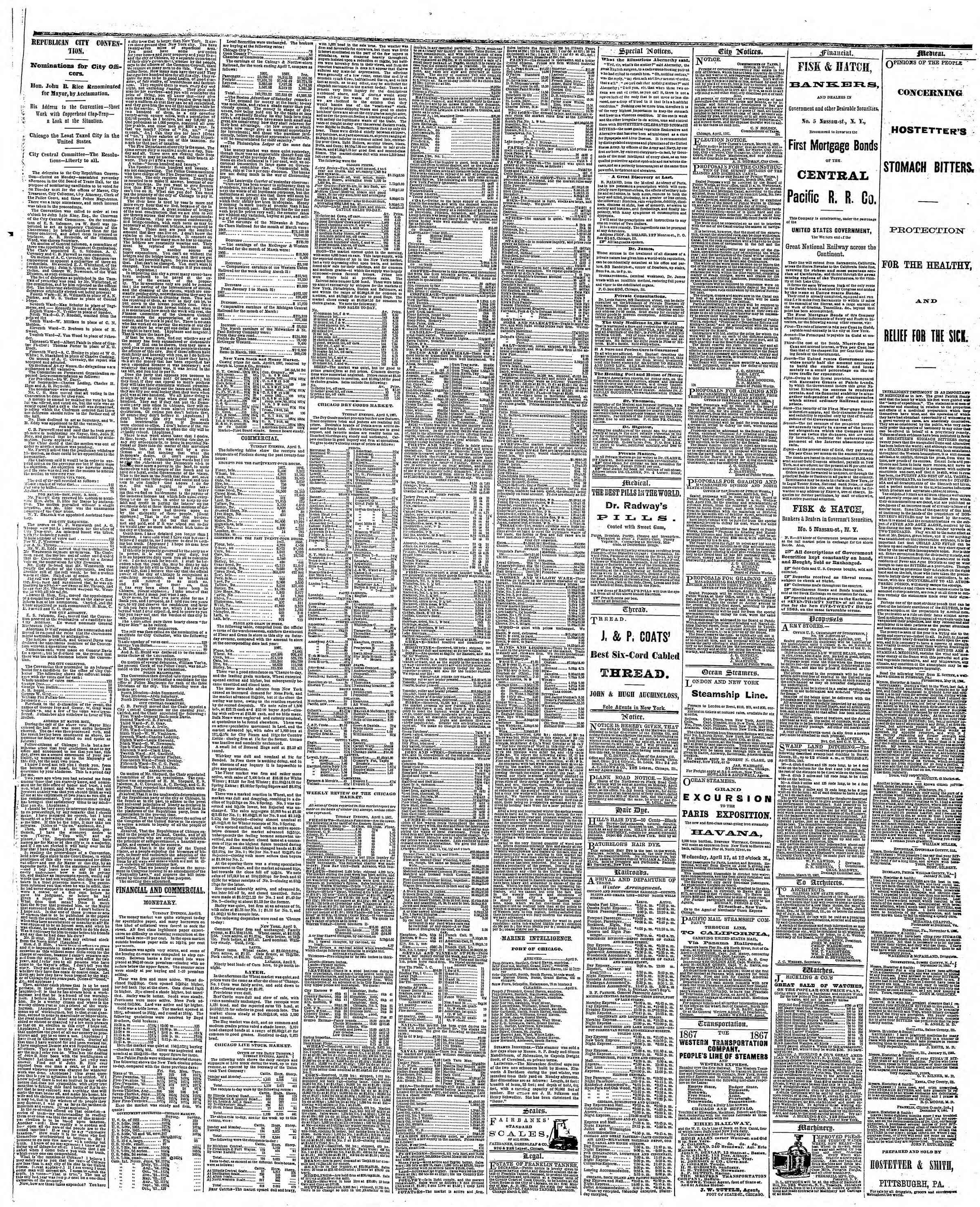 Newspaper of The Chicago Tribune dated April 10, 1867 Page 4